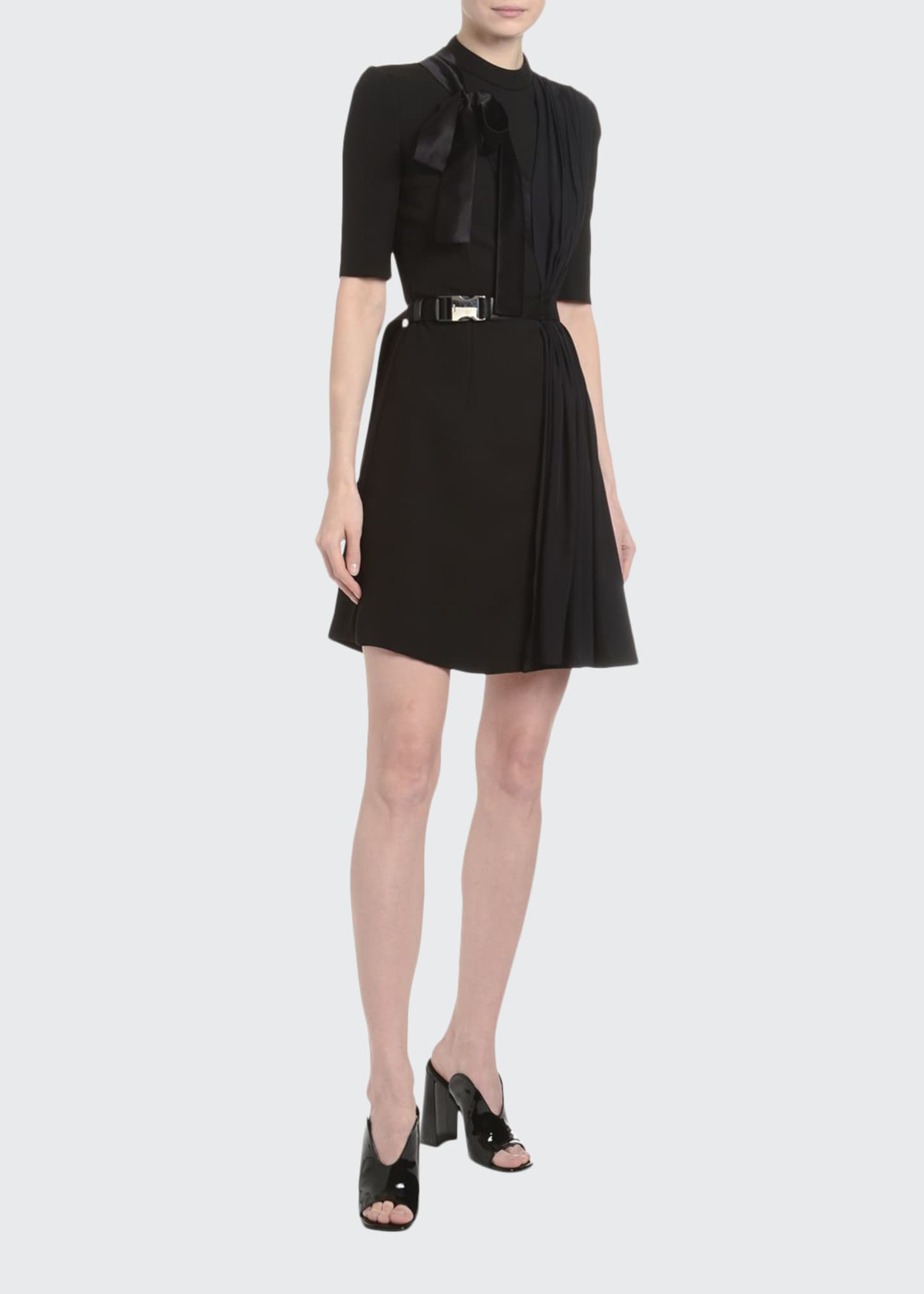 Prada Draped Tech-Twill Crepe Dress
