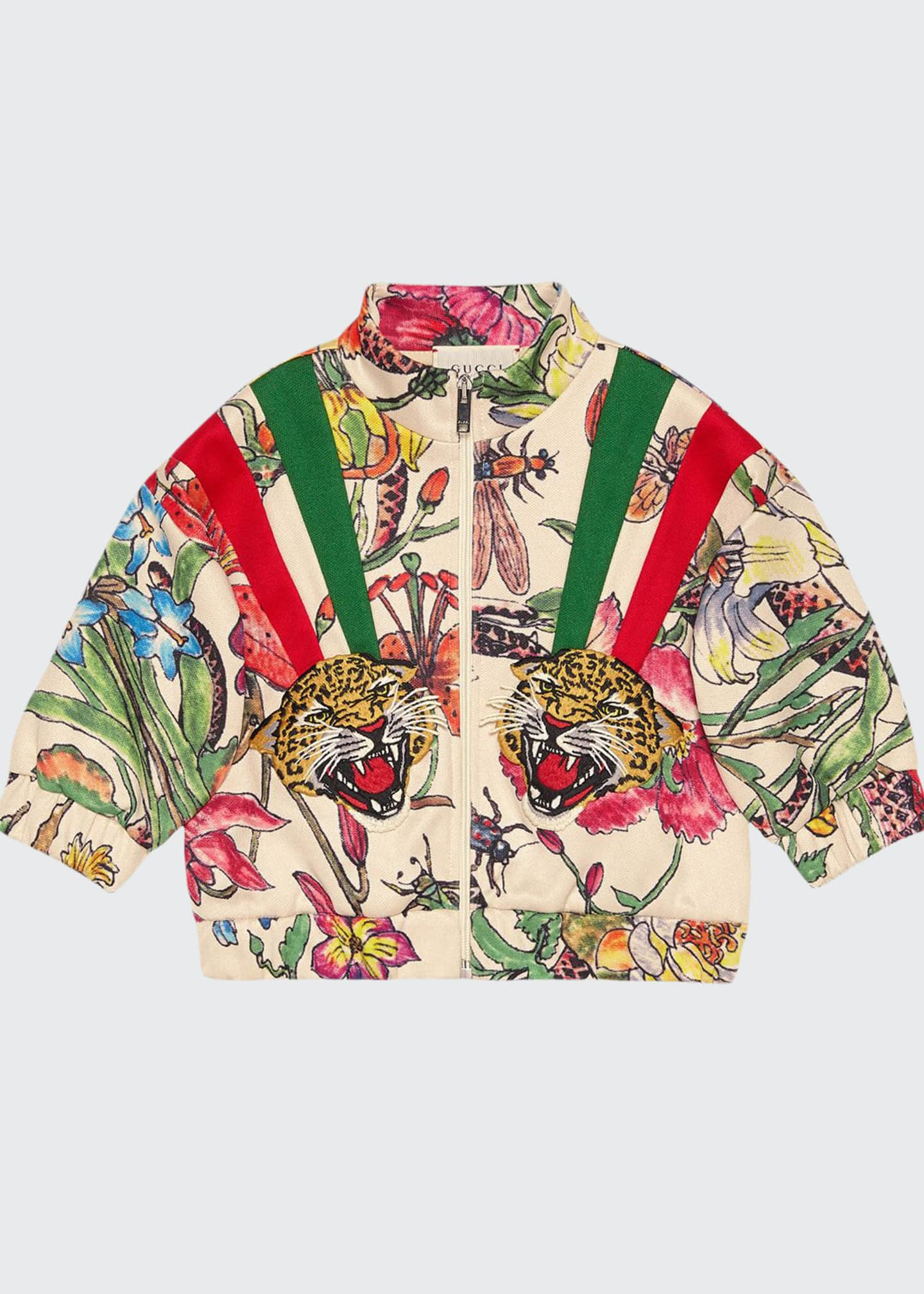 Gucci Floral Zip-Up Sweatshirt w/ Tiger Patches, Size