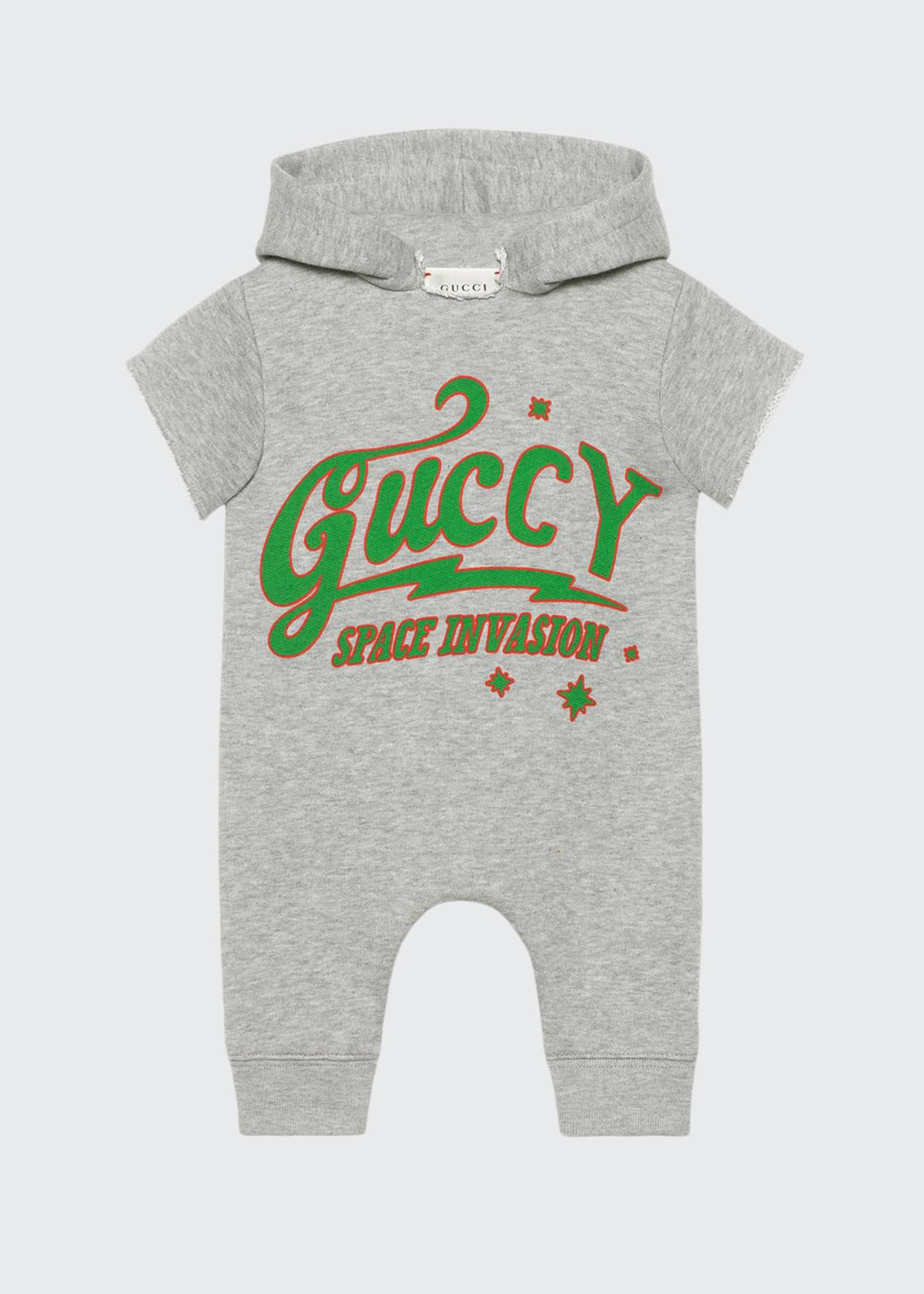 Gucci Guccy UFO Hooded Short-Sleeve Romper, Size 3-24
