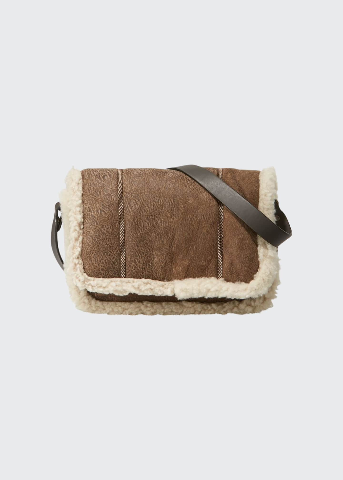 Brunello Cucinelli Shearling-Lined Crossbody Bag