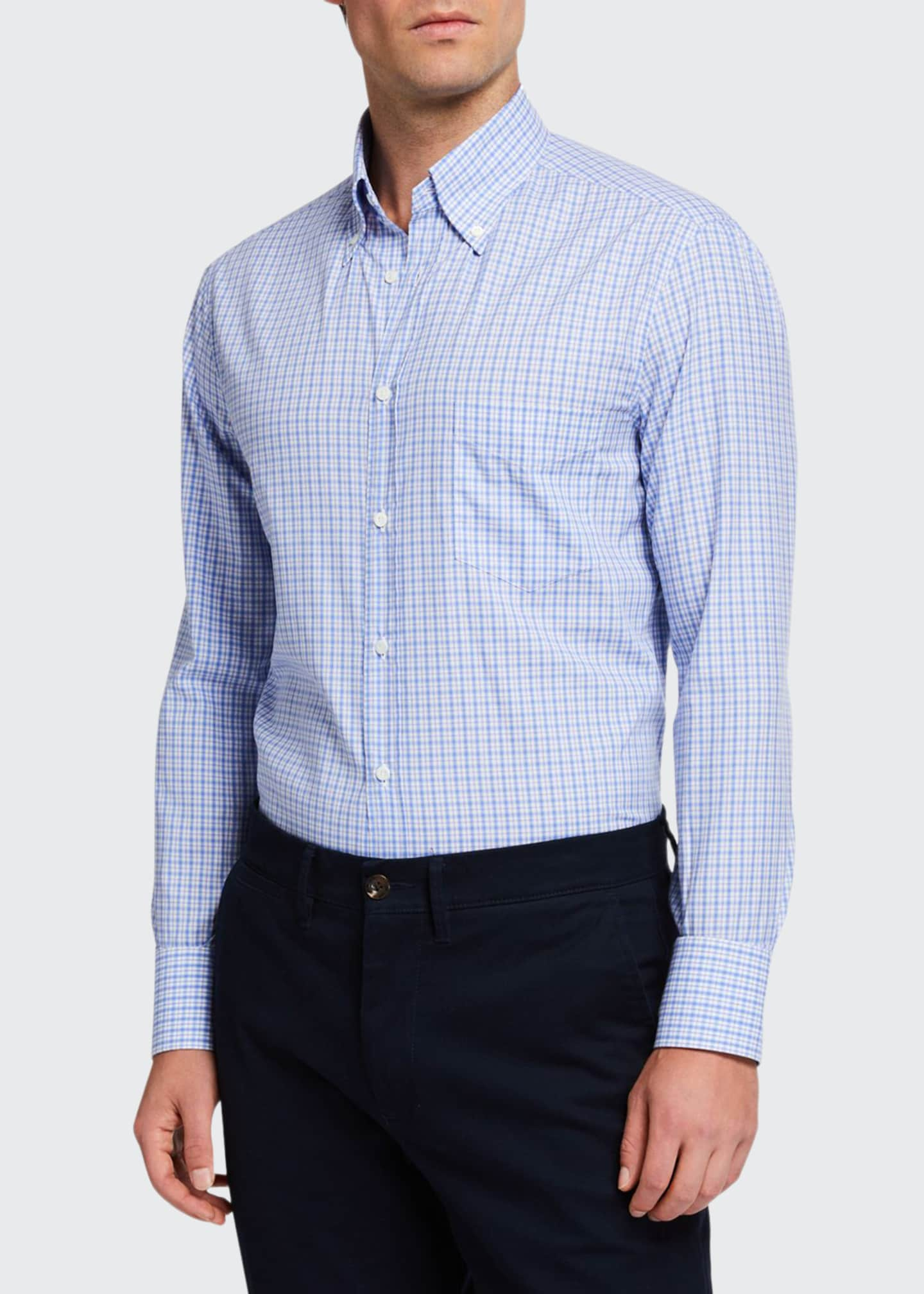 Brunello Cucinelli Men's Basic Plaid Sport Shirt with