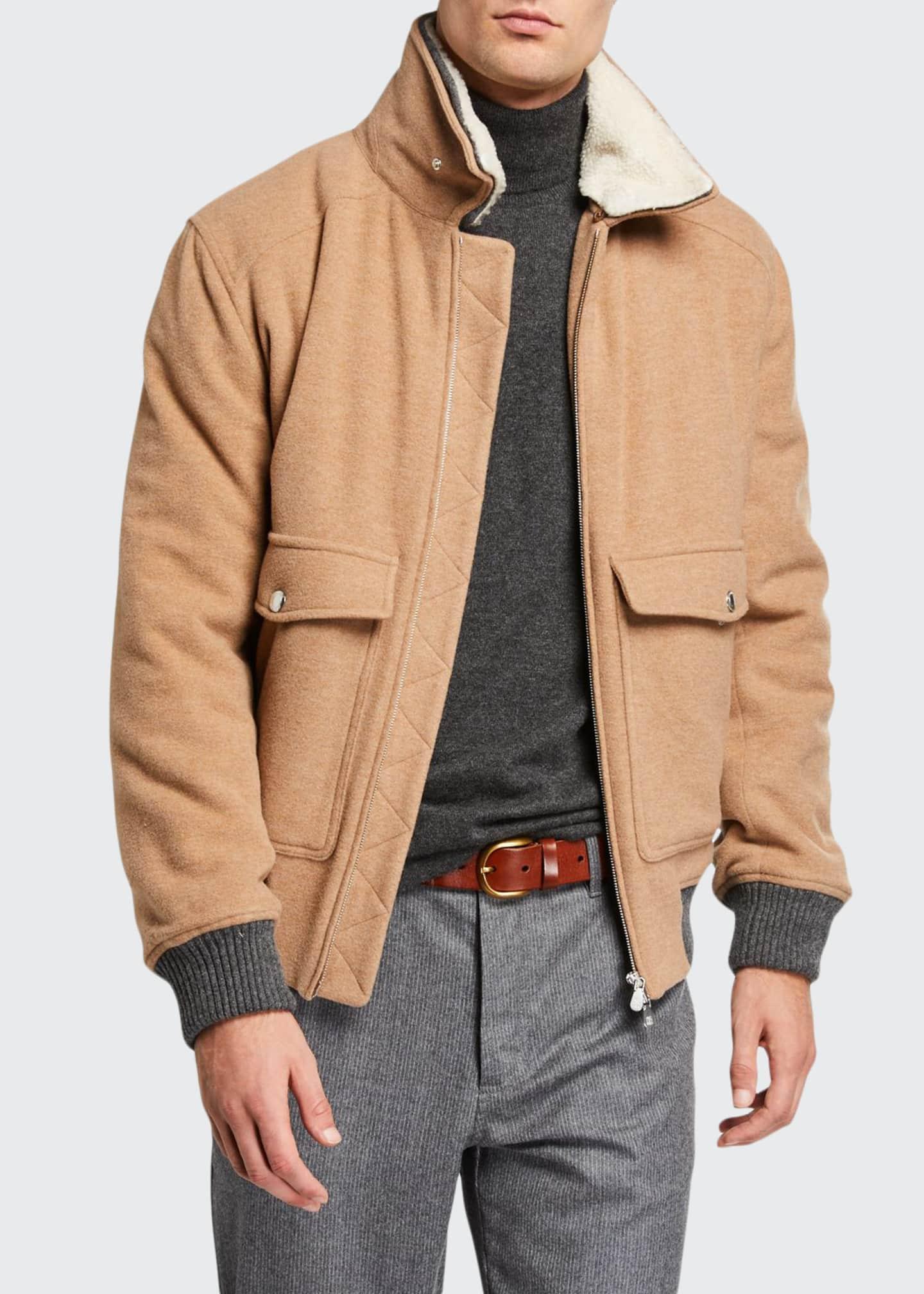 Brunello Cucinelli Men's Bomber-Style Patch-Pocket Jacket