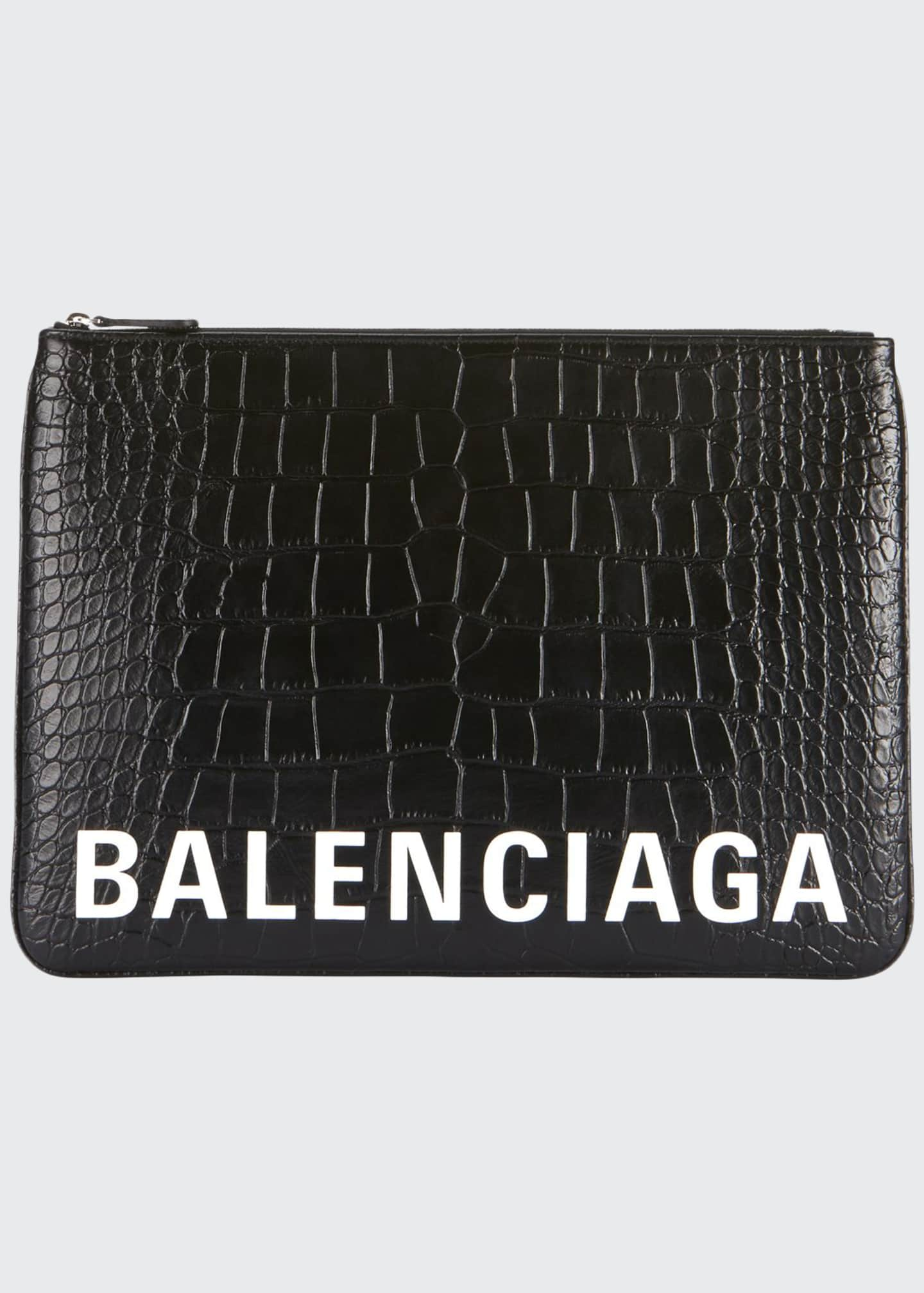 Balenciaga Men's Ville Croc-Embossed Leather Pouch Bag