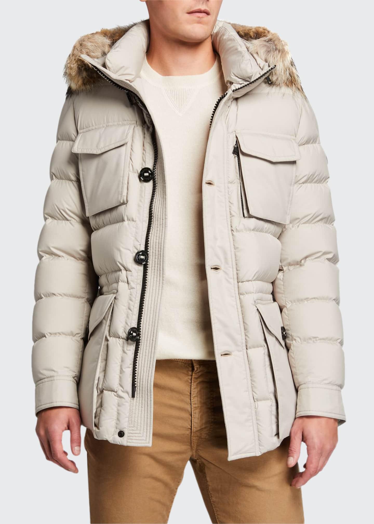 Moncler Men's Augert Puffer Coat w/ Fur Trim