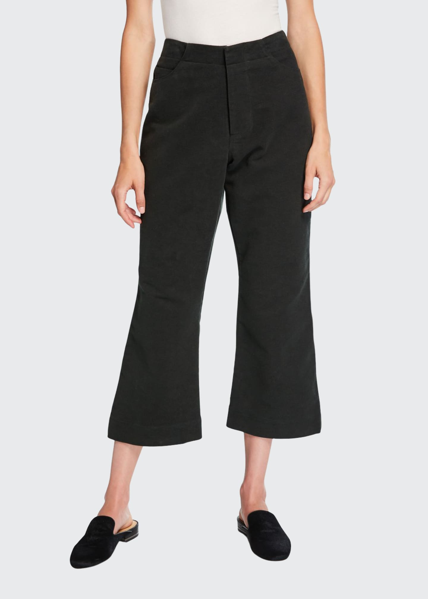 Deveaux New York Cropped Flare-Leg Brushed Moleskin Pants