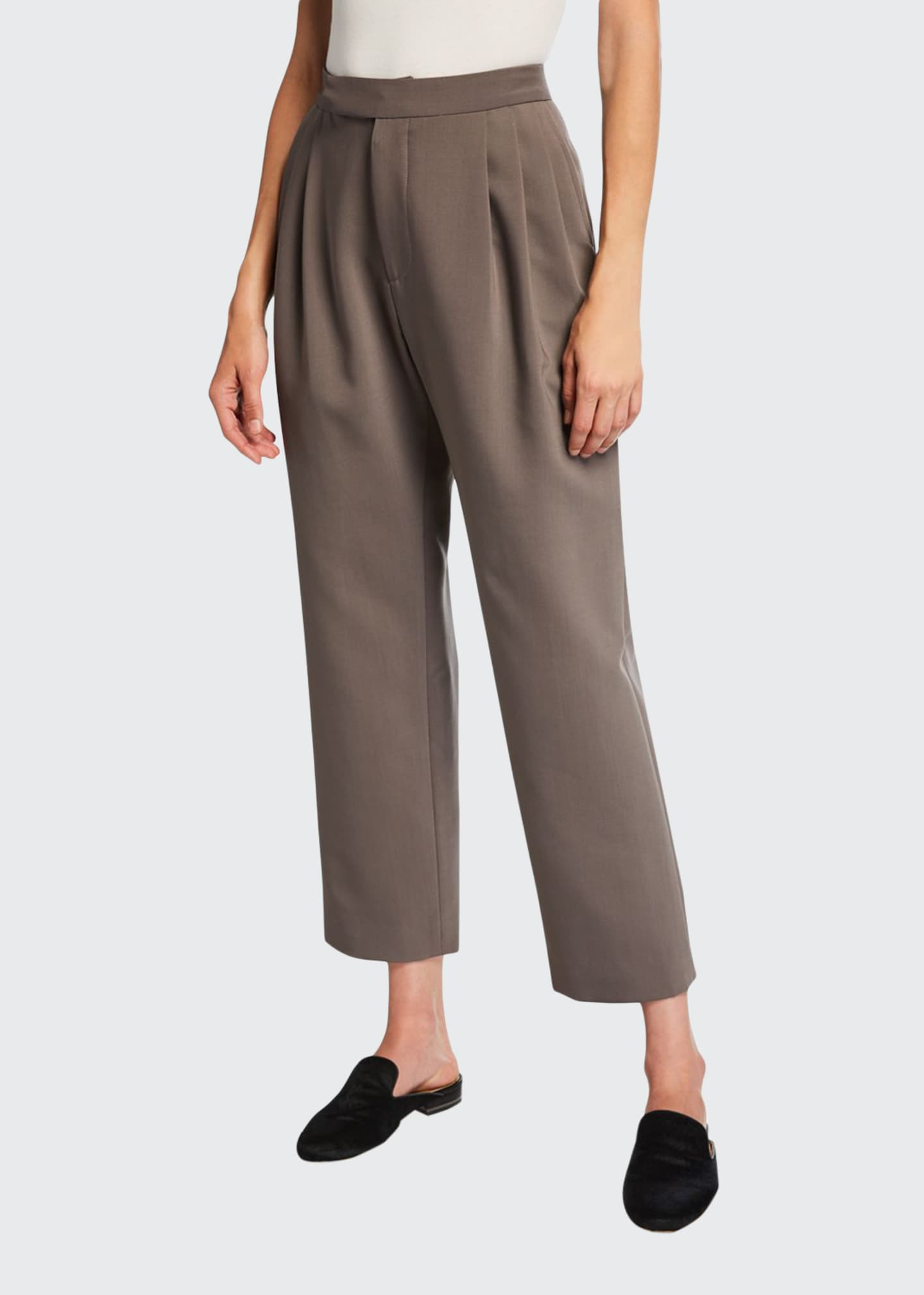 Deveaux New York Isabella Bonded Wool Crop Pants