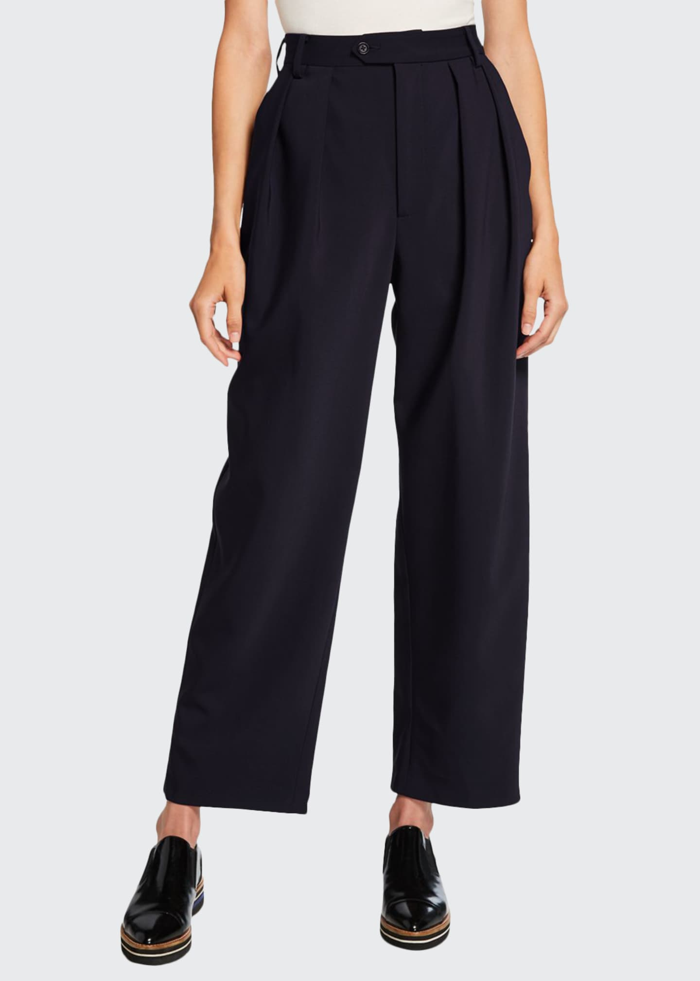 Deveaux New York Isabella Pleated Bonded Wool Pants