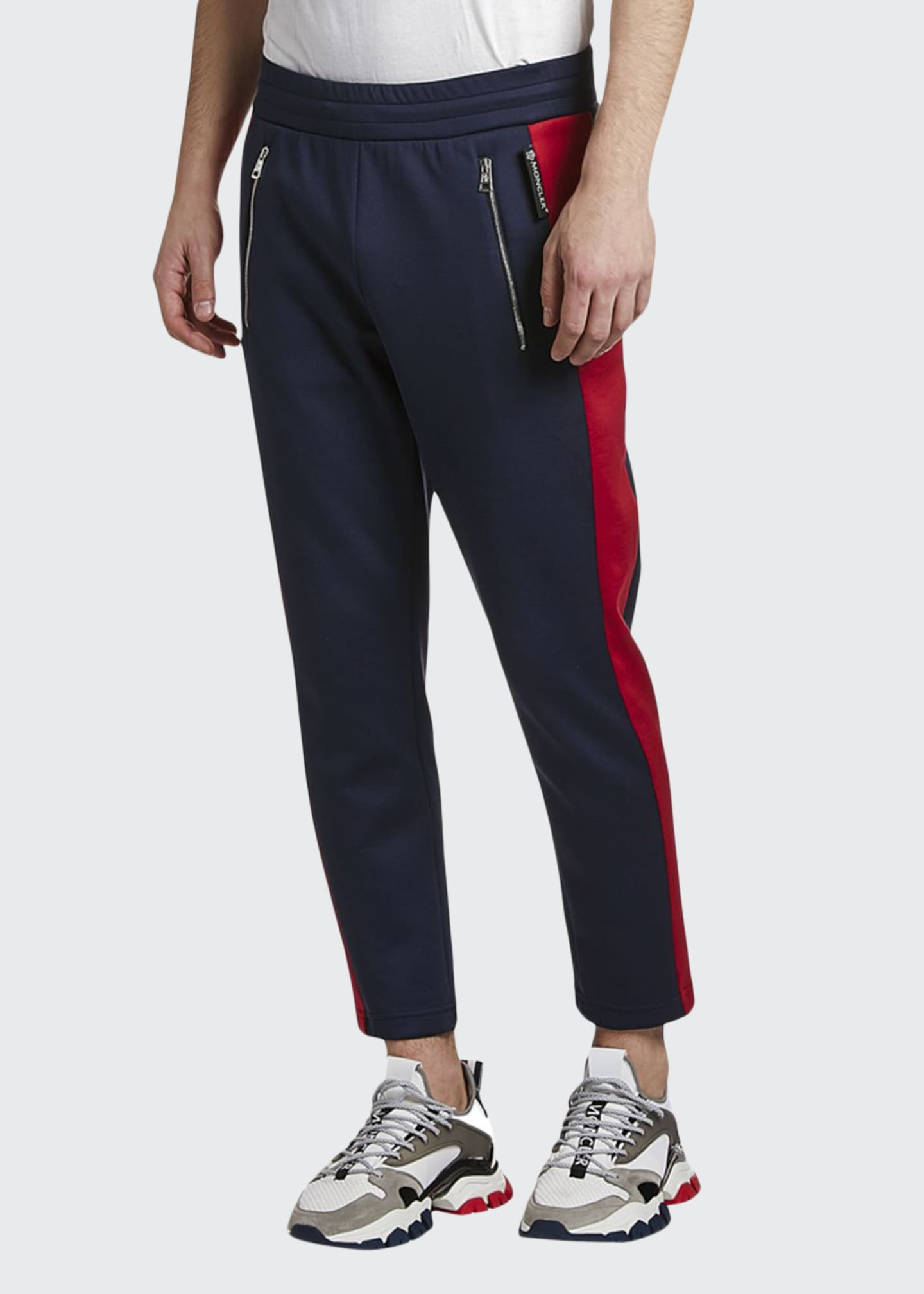 Moncler Men's Contrast Side-Stripe Ankle Sweatpants