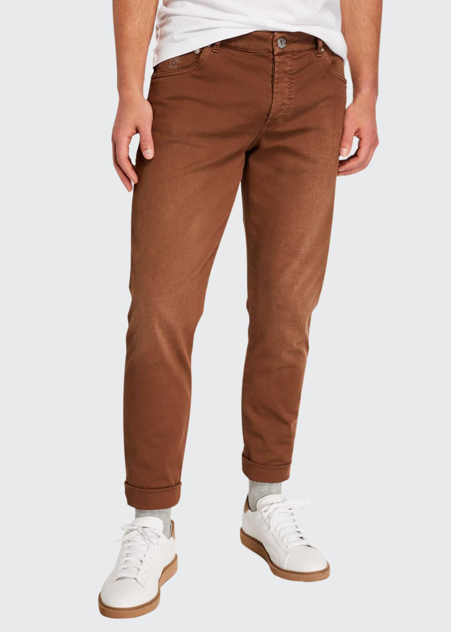 Brunello Cucinelli Men's Slim-Fit Over-Dye Twill Jeans