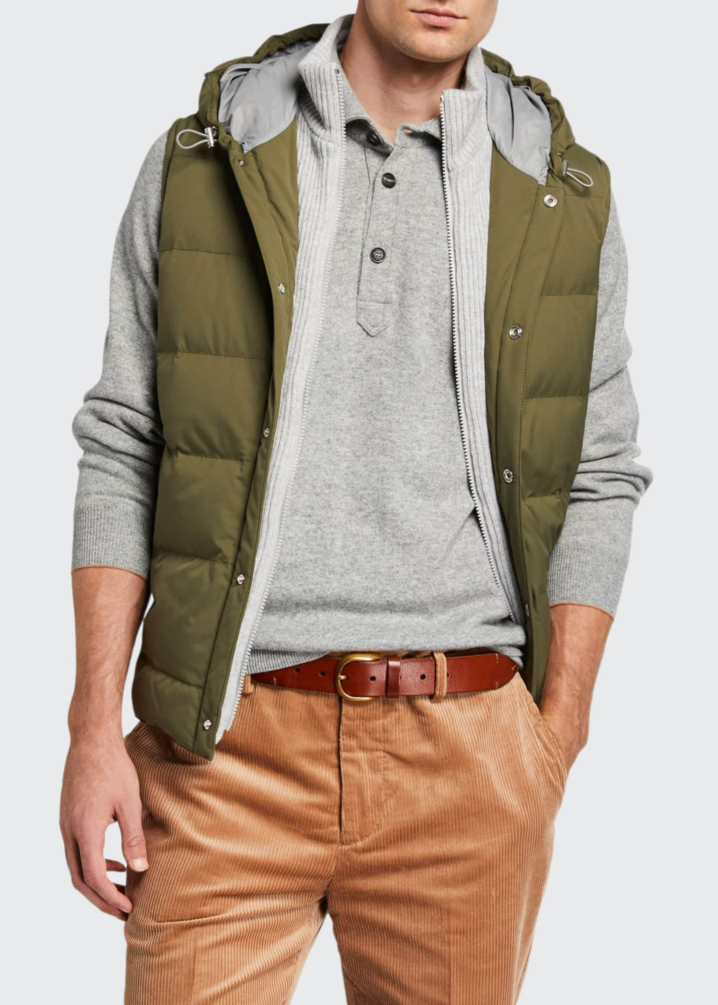 Brunello Cucinelli Men's Quilted Puffer Vest with Cashmere