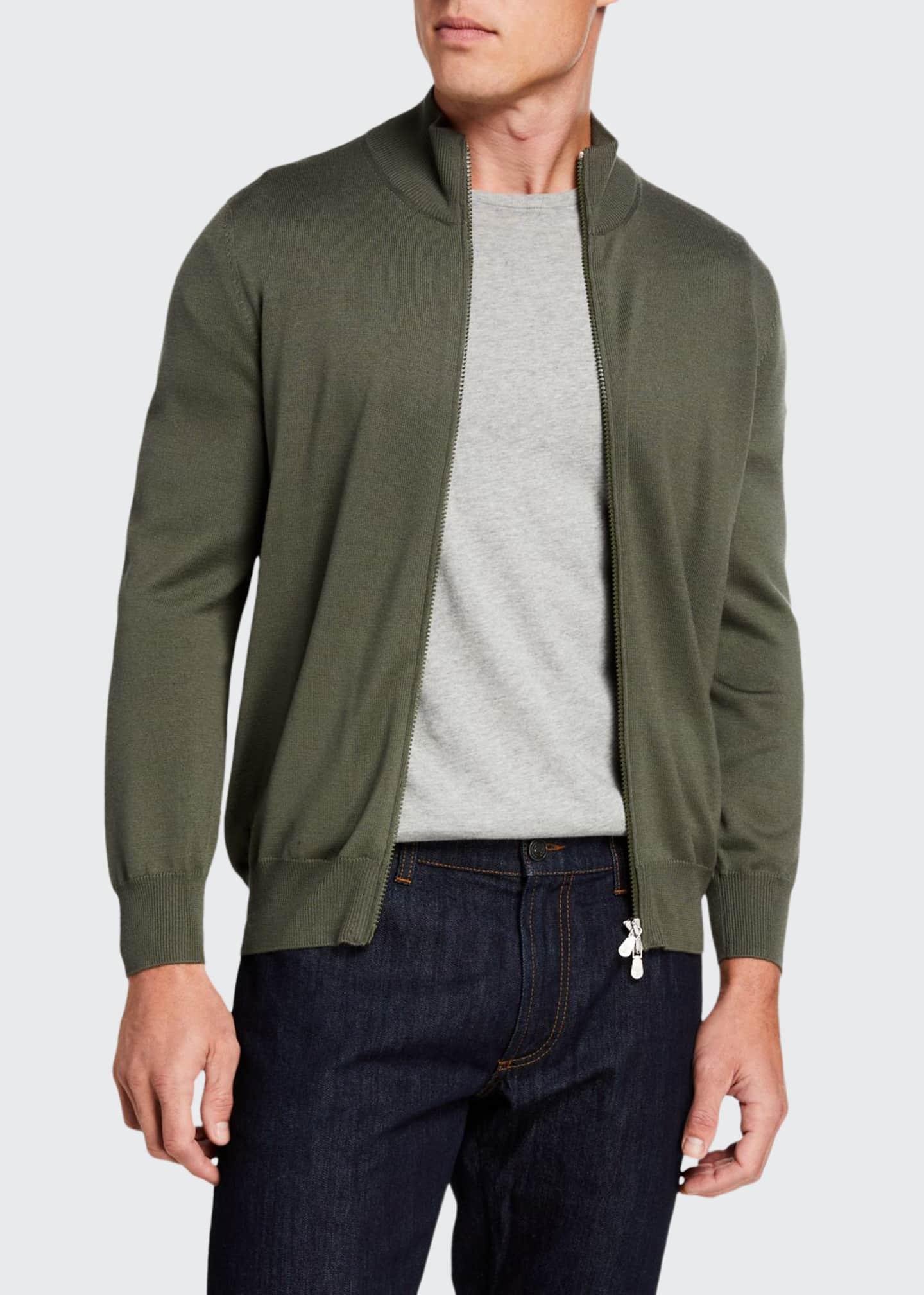 Brunello Cucinelli Men's Wool/Cashmere Zip Front Sweater