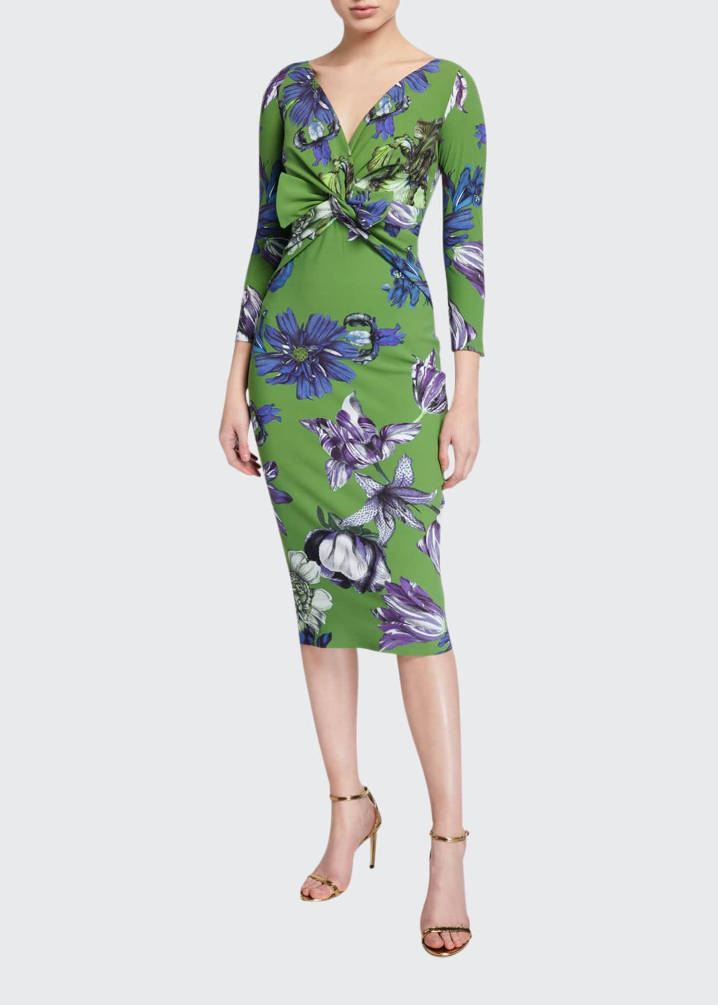 Chiara Boni La Petite Robe Floral V-Neck Knot-Front