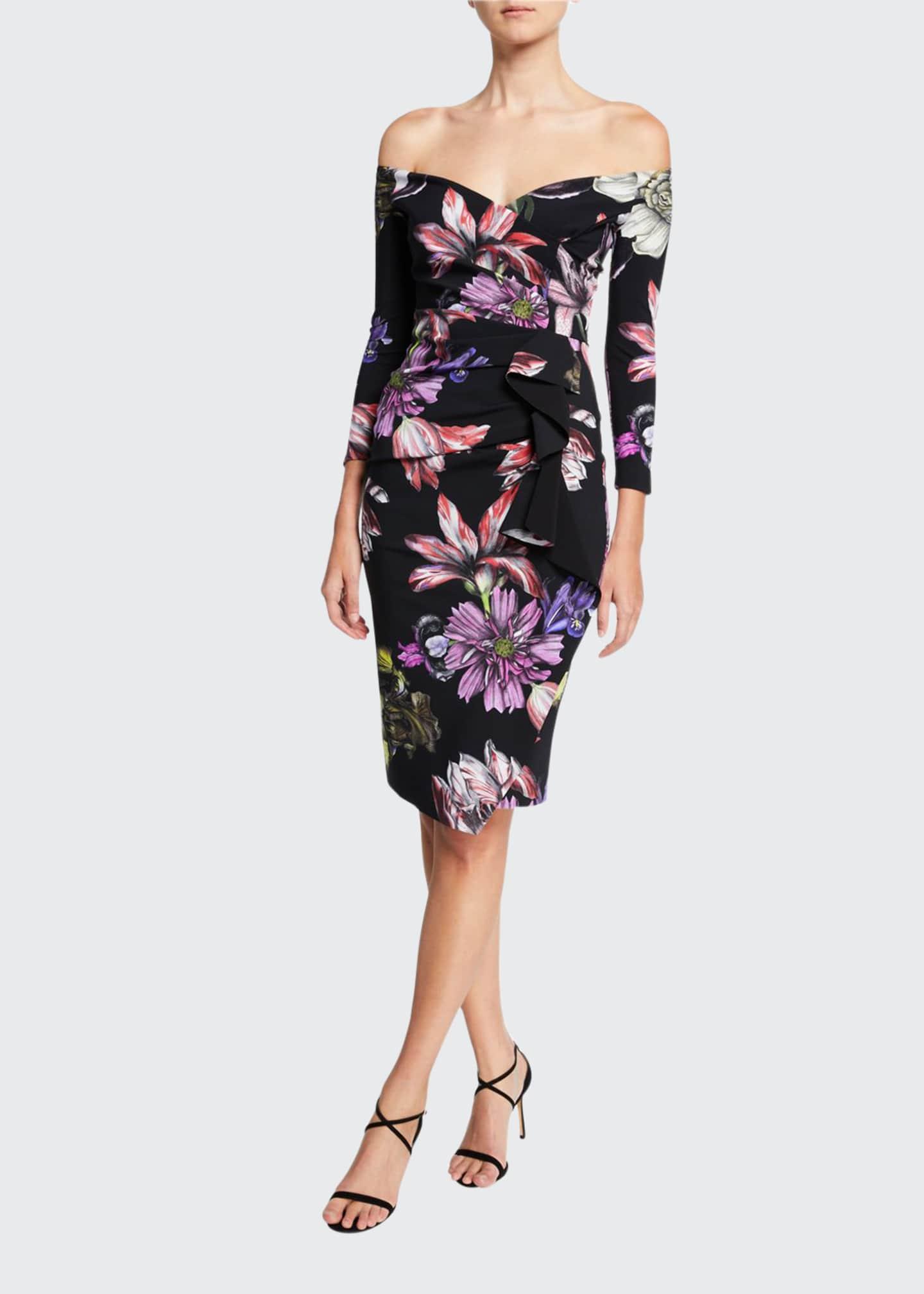 Chiara Boni La Petite Robe Floral Off-the-Shoulder 3/4-Sleeve