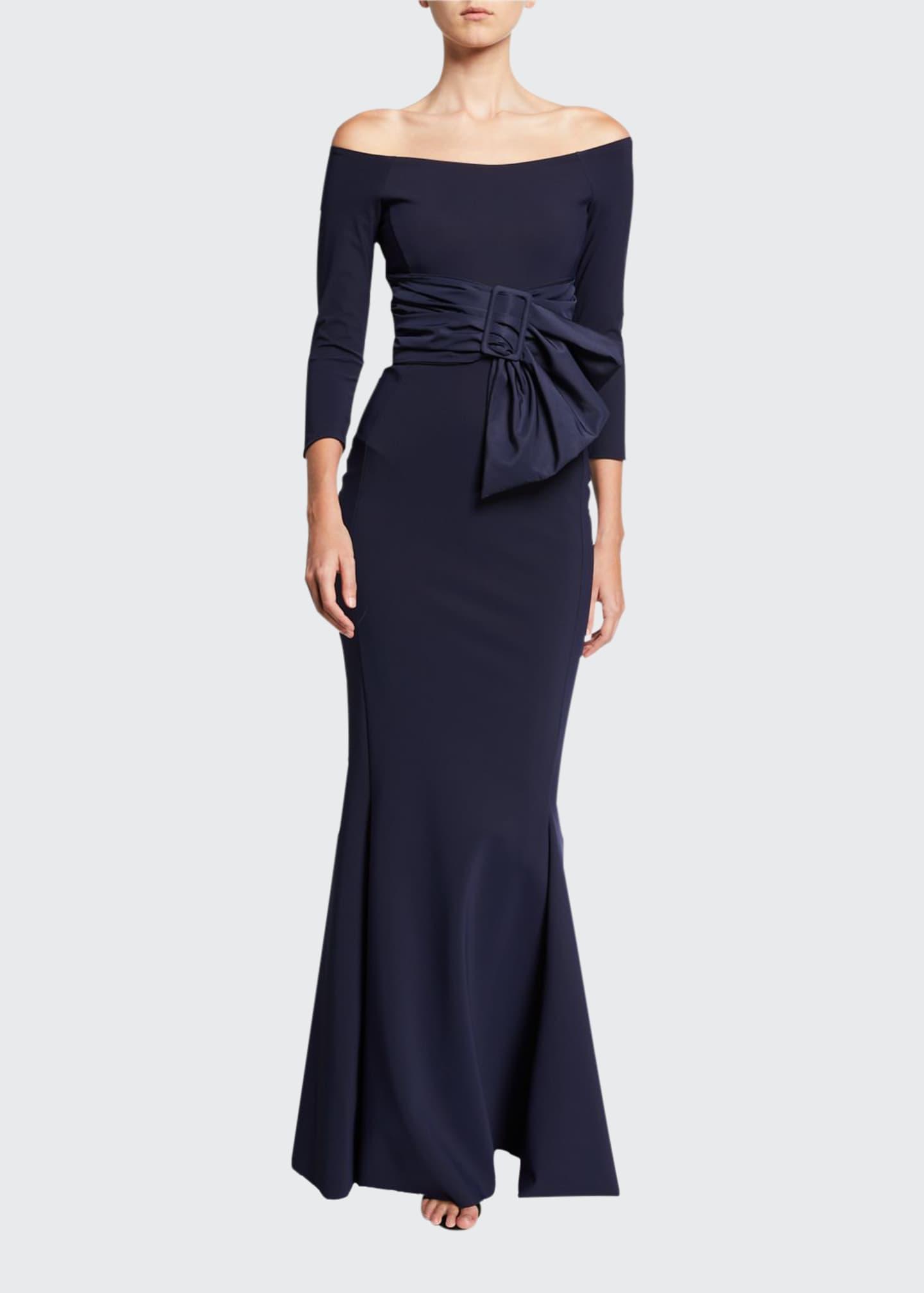 Chiara Boni La Petite Robe Off-Shoulder 3/4-Sleeve Belted