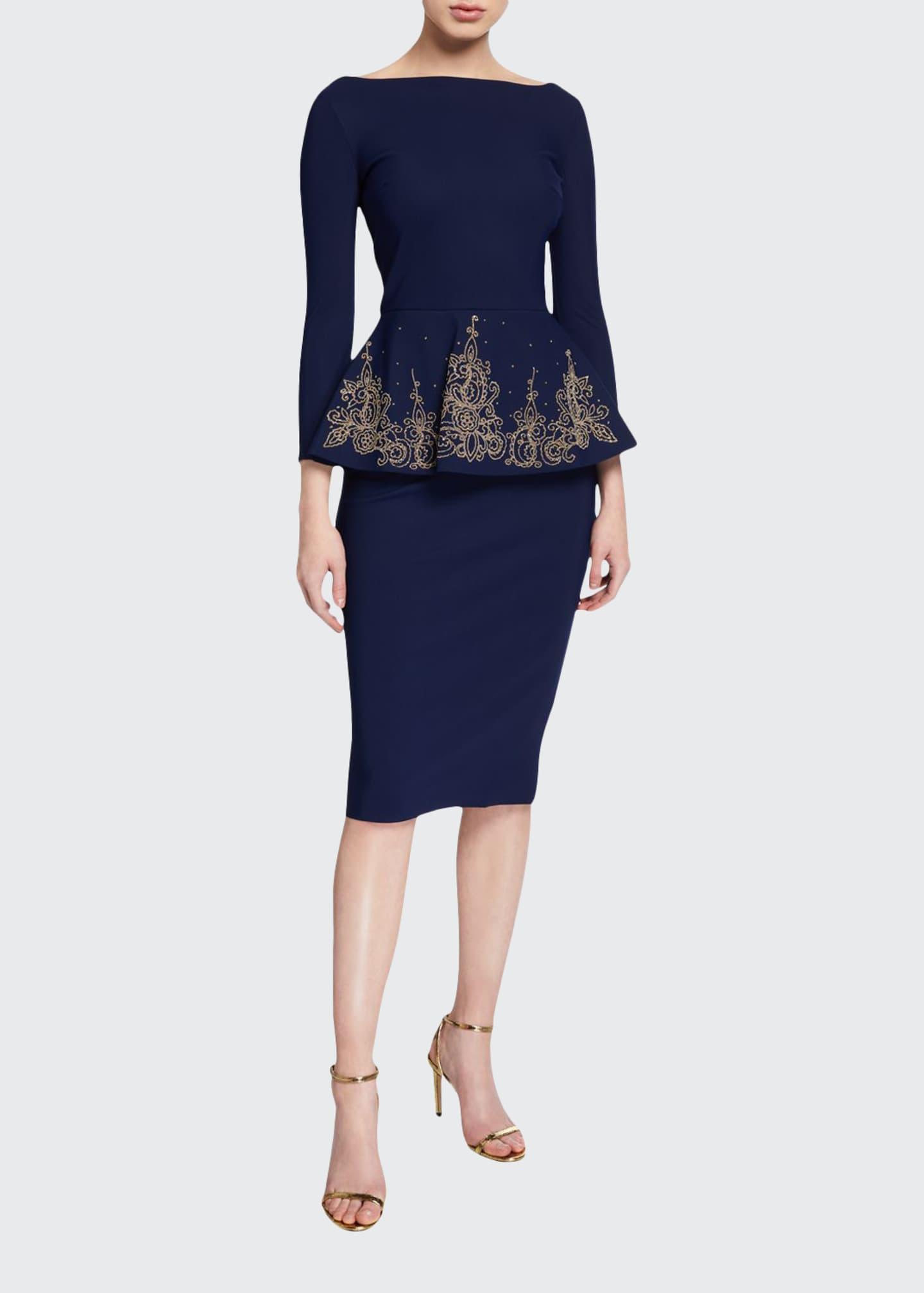 Chiara Boni La Petite Robe Bateau-Neck 3/4-Sleeve Embroidered