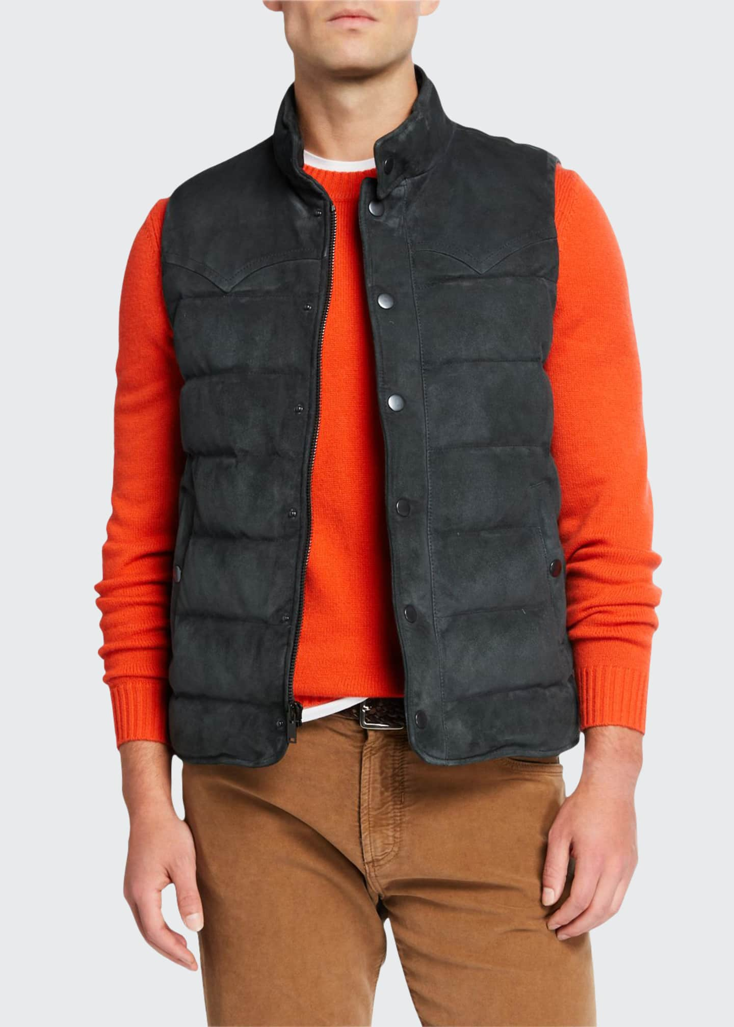 Image 1 of 3: Men's Water-Repellant Suede Padded Vest