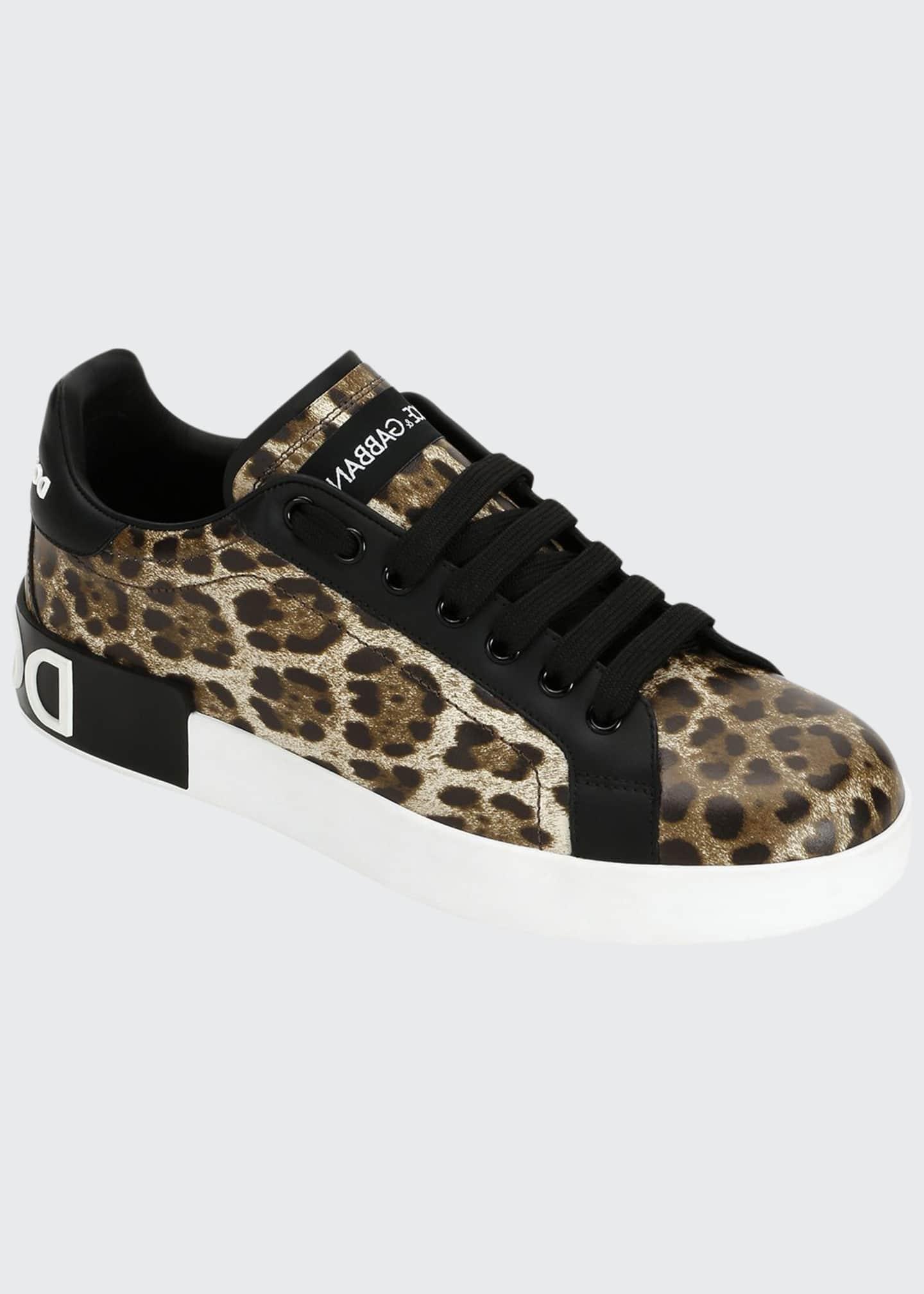 Dolce & Gabbana Leopard Logo Low-Top Sneakers