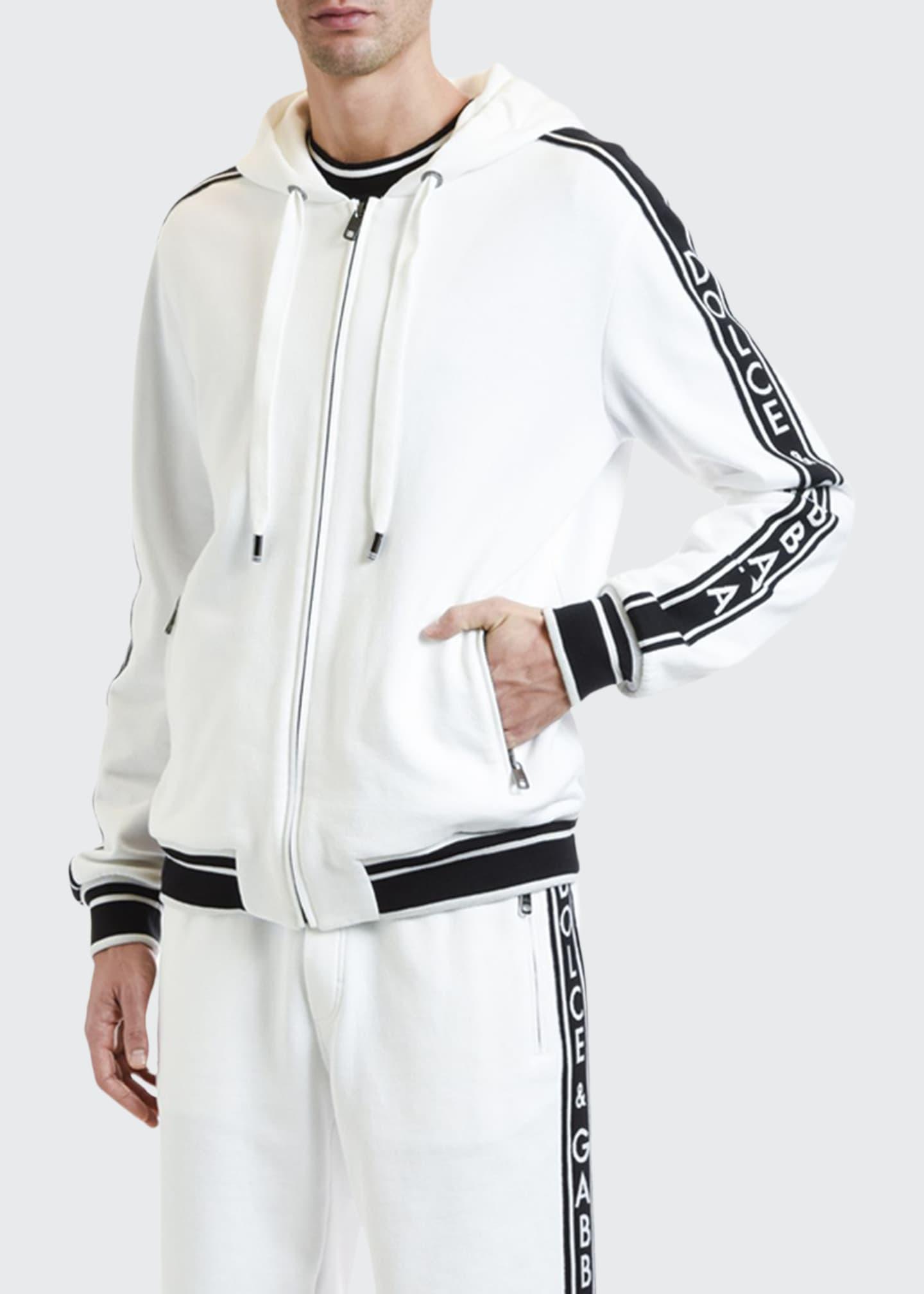 Dolce & Gabbana Men's Logo-Taping Zip-Front Hoodie