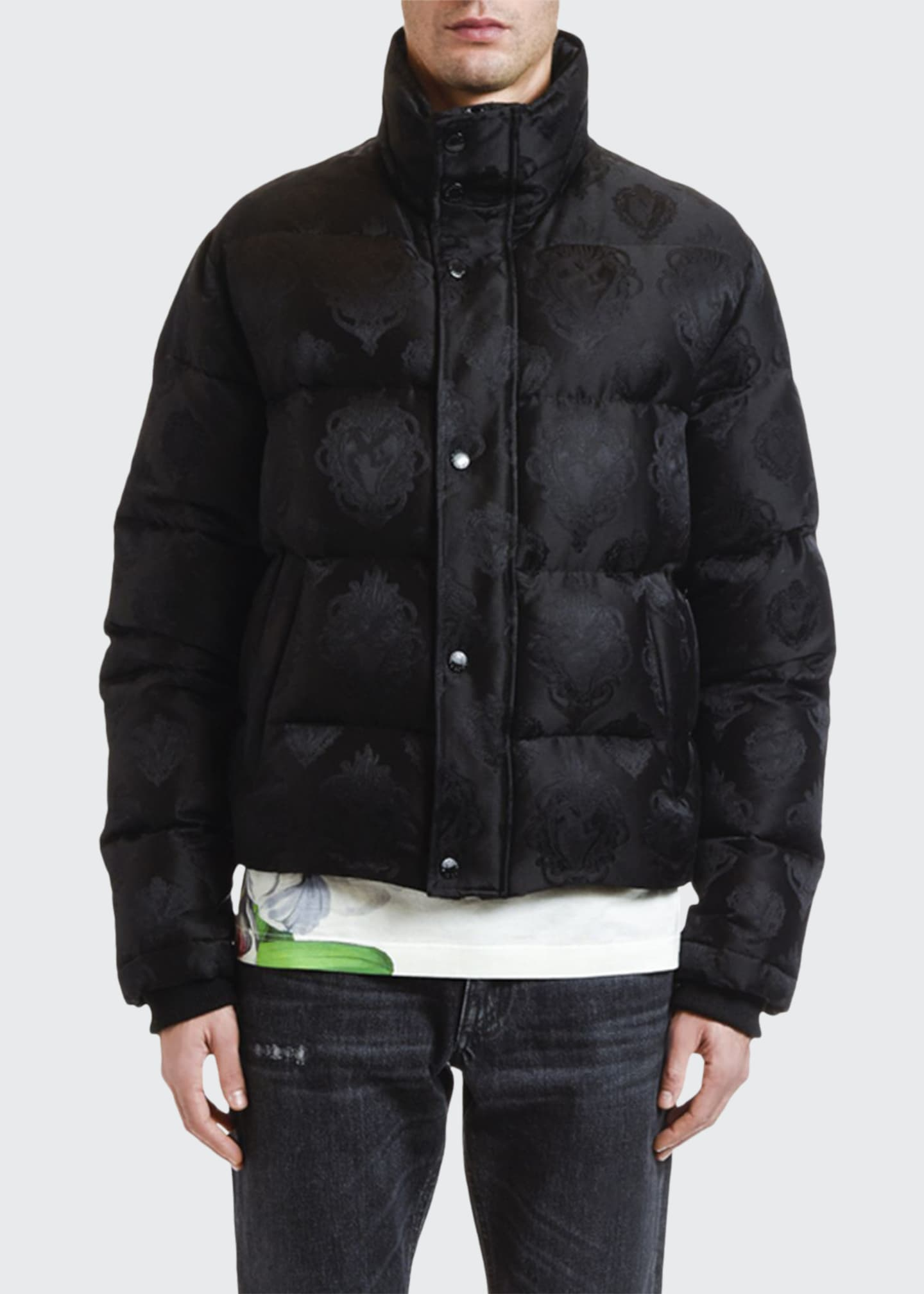 Dolce & Gabbana Men's Jacquard Quilted Puffer Bomber