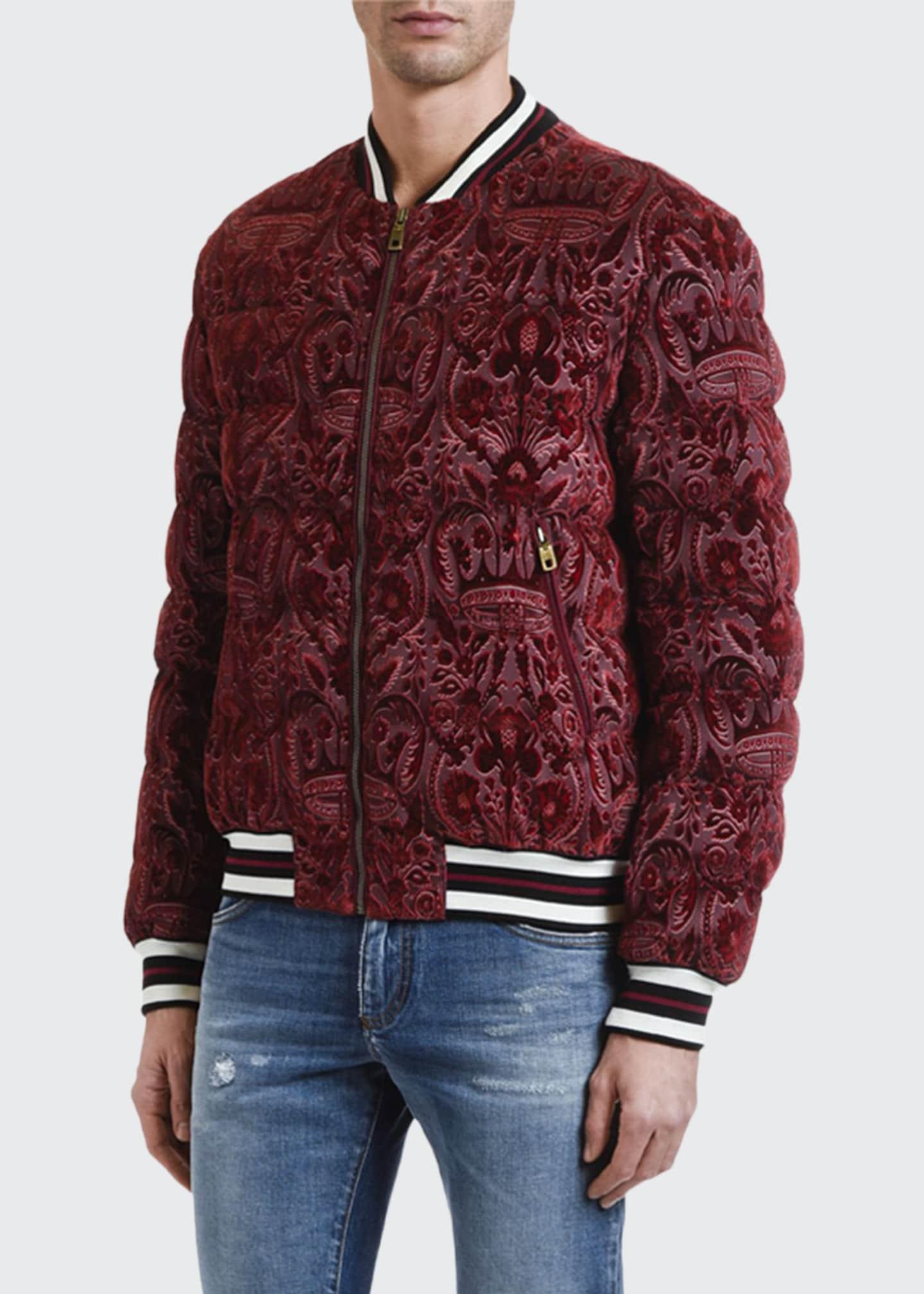 Dolce & Gabbana Men's Felted Brocade Puffer Bomber