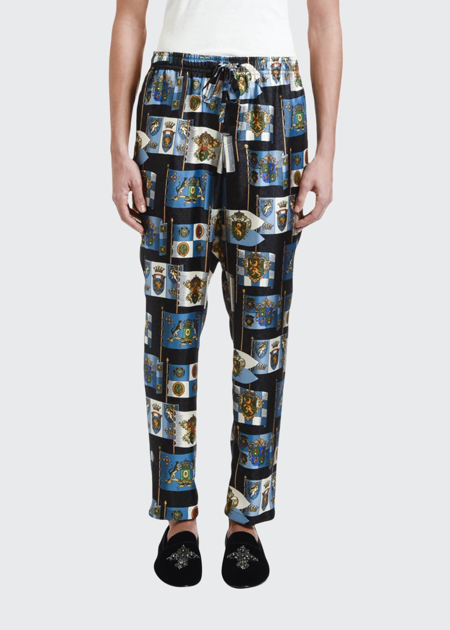 Dolce & Gabbana Men's Crest-Print Silk Pajama Pants