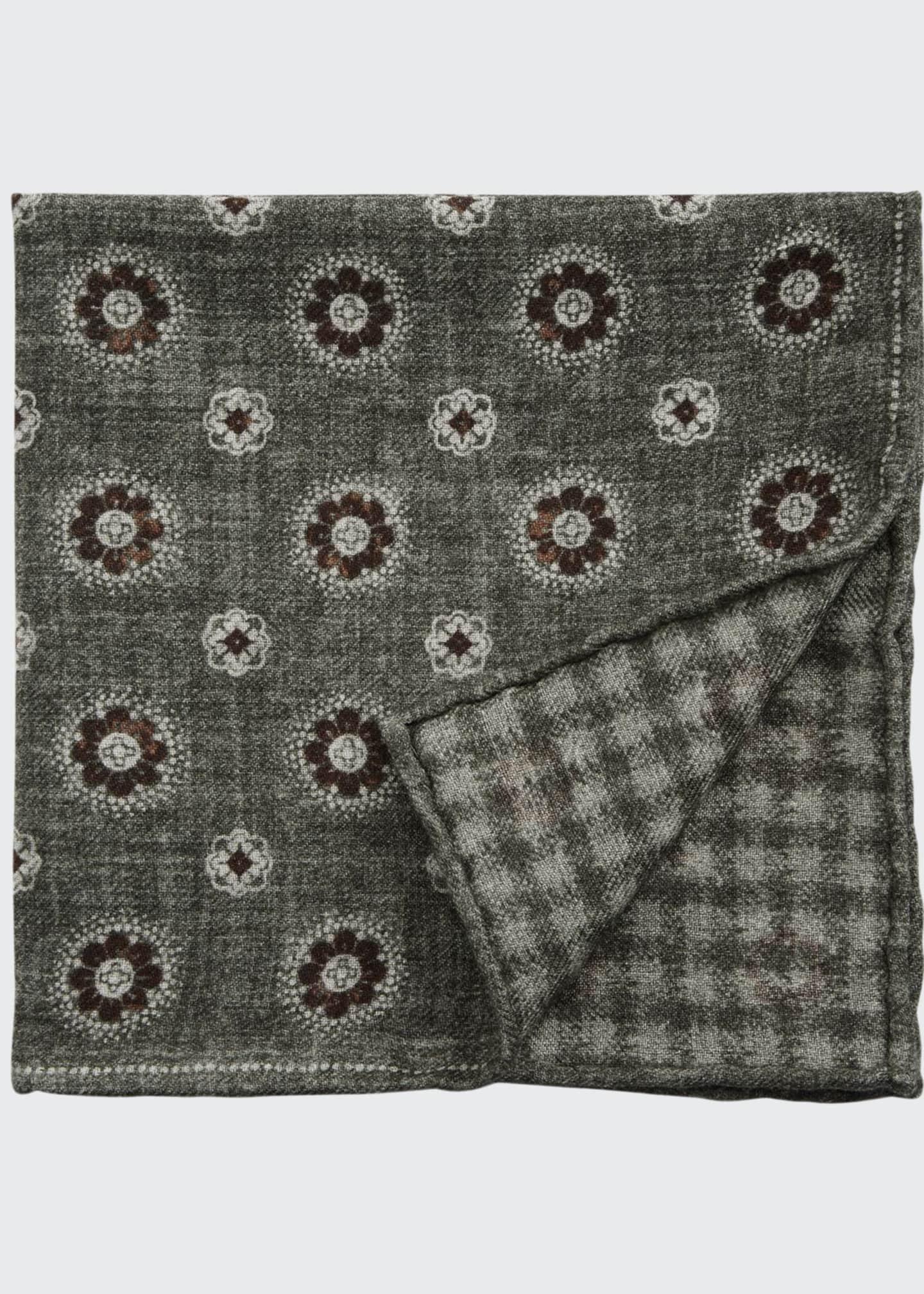 Brunello Cucinelli Men's Floral-Houndstooth Reversible Pocket Square