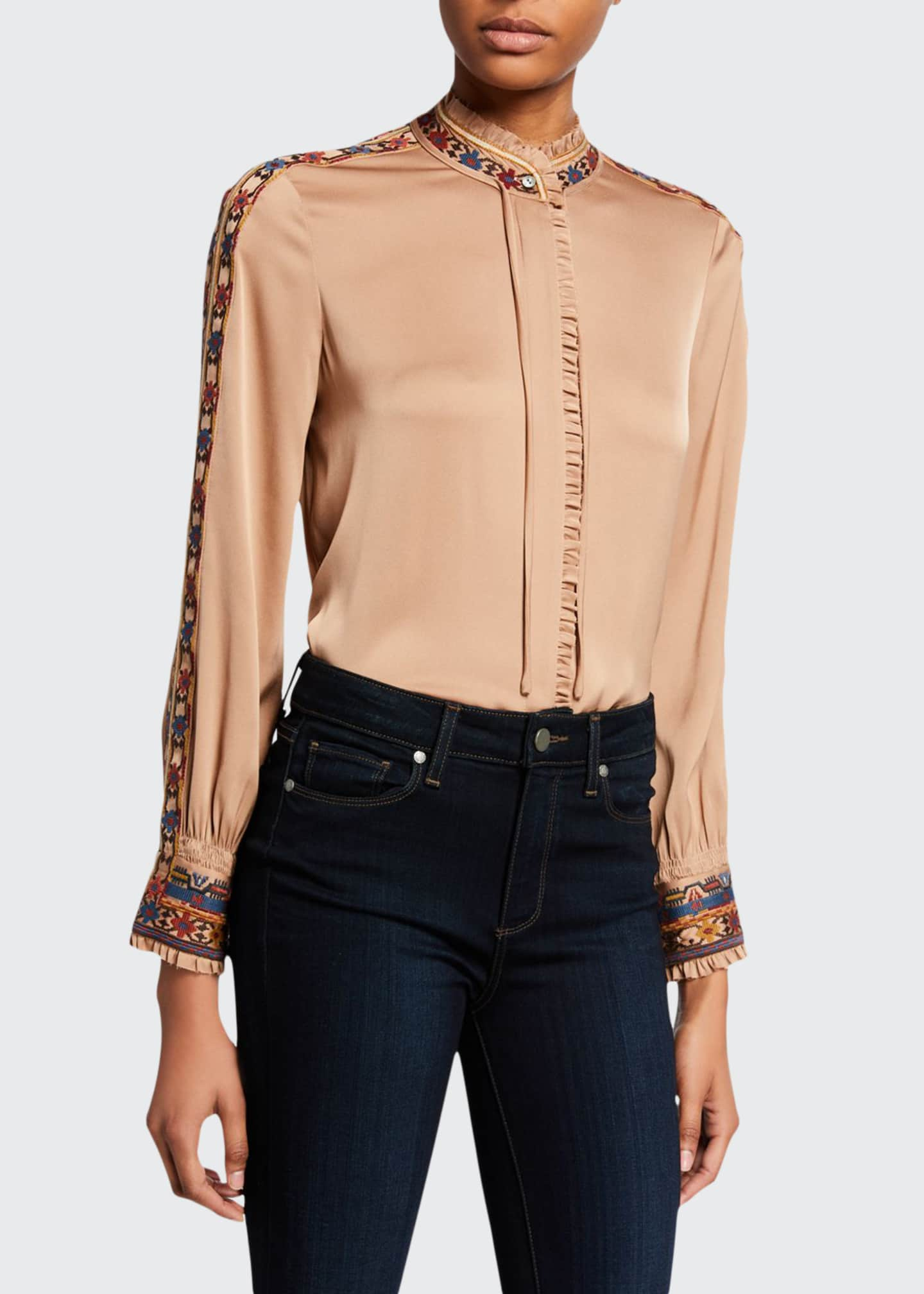 Kobi Halperin Owen Mock-Neck Long-Sleeve Silk Blouse