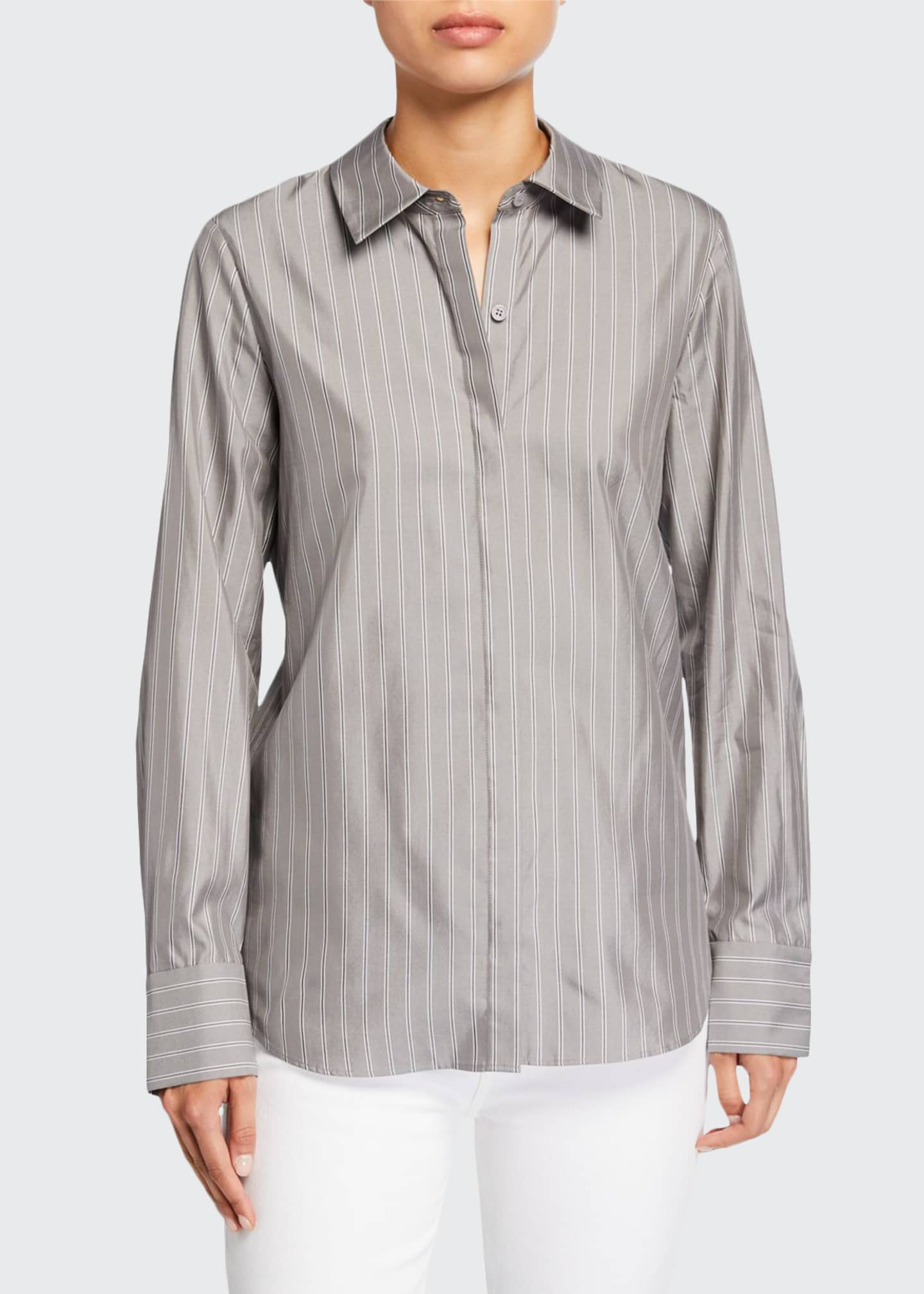Lafayette 148 New York Scottie Genteel Stripes Button-Down
