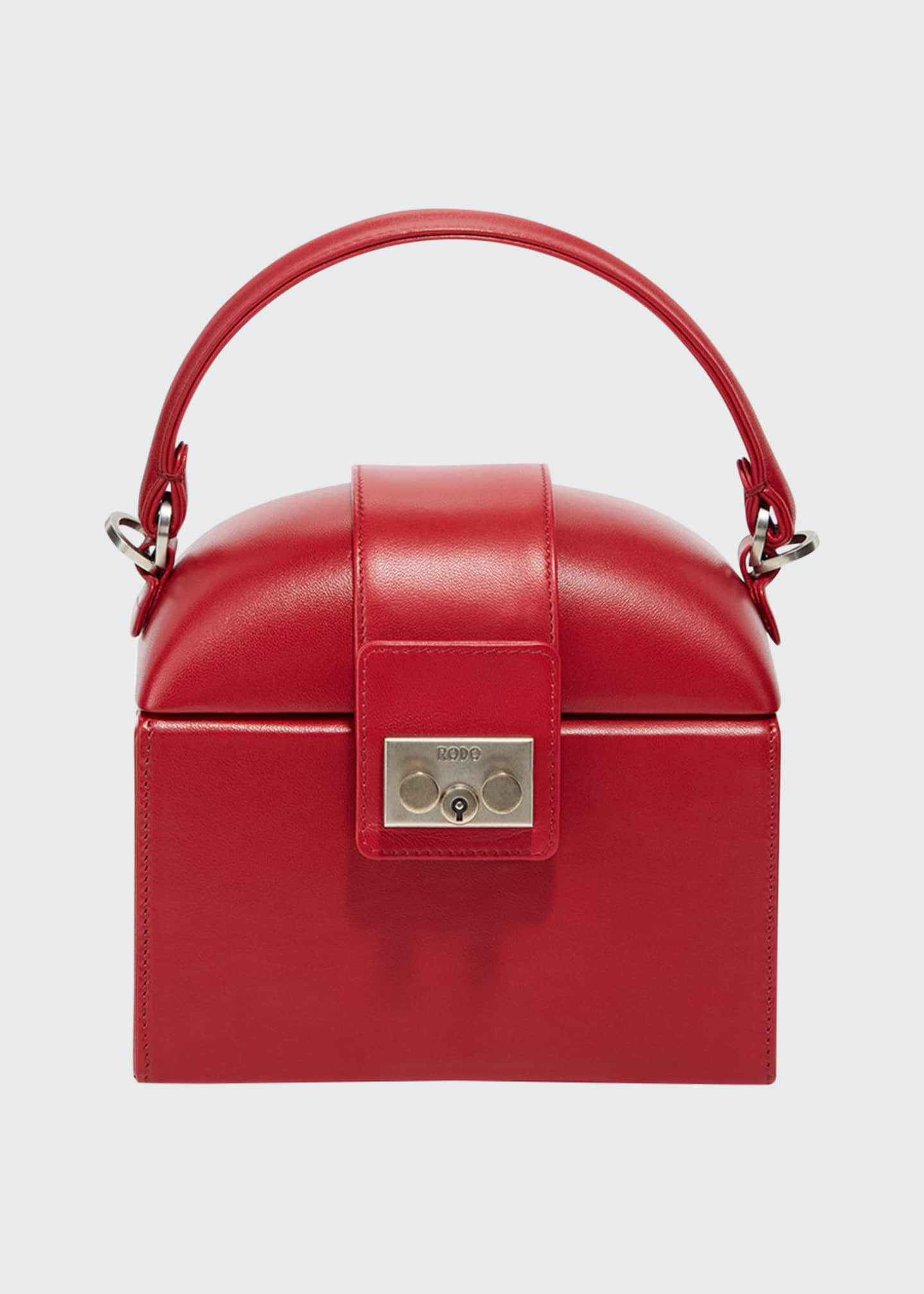 RODO Leather Lunchbox Top Handle Bag, Red