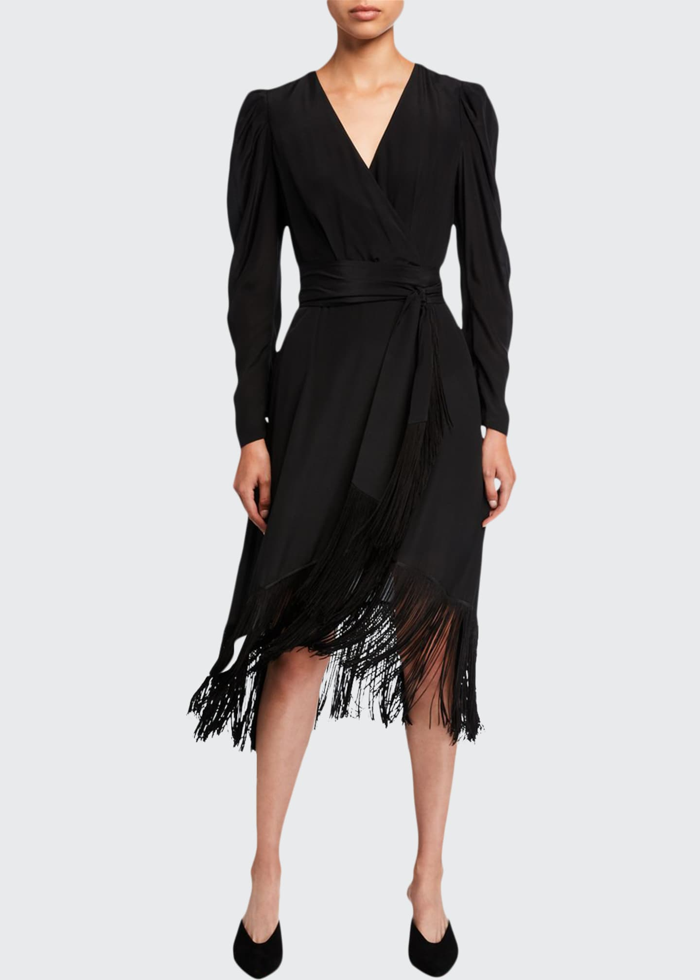 Kobi Halperin Phoebe Long-Sleeve Fringe Midi Dress