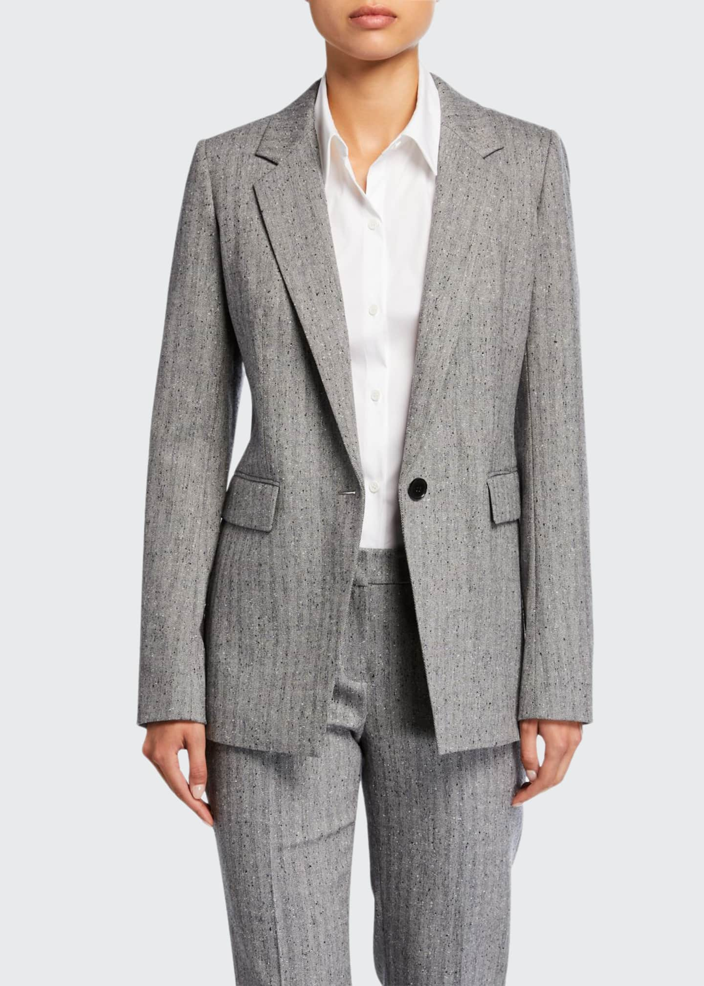 Lafayette 148 New York Rhoda Speckled Herringbone One-Button