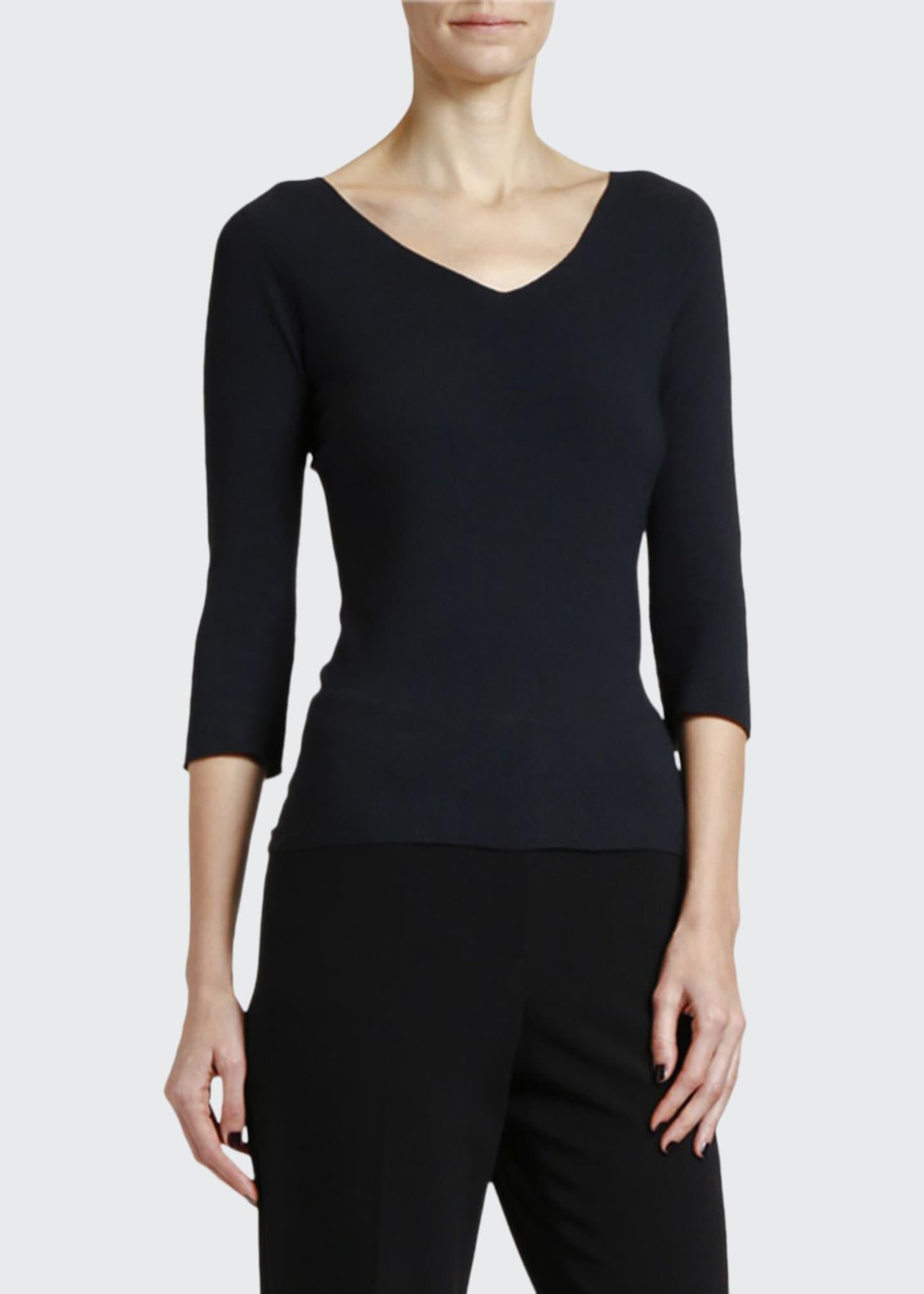 Giorgio Armani 3/4-Sleeve Moss-Stitch V-Neck Sweater