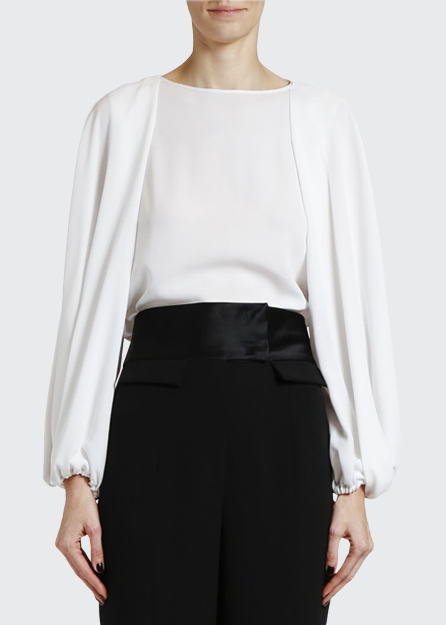 Image 1 of 2: Silk Poet-Sleeve Blouse