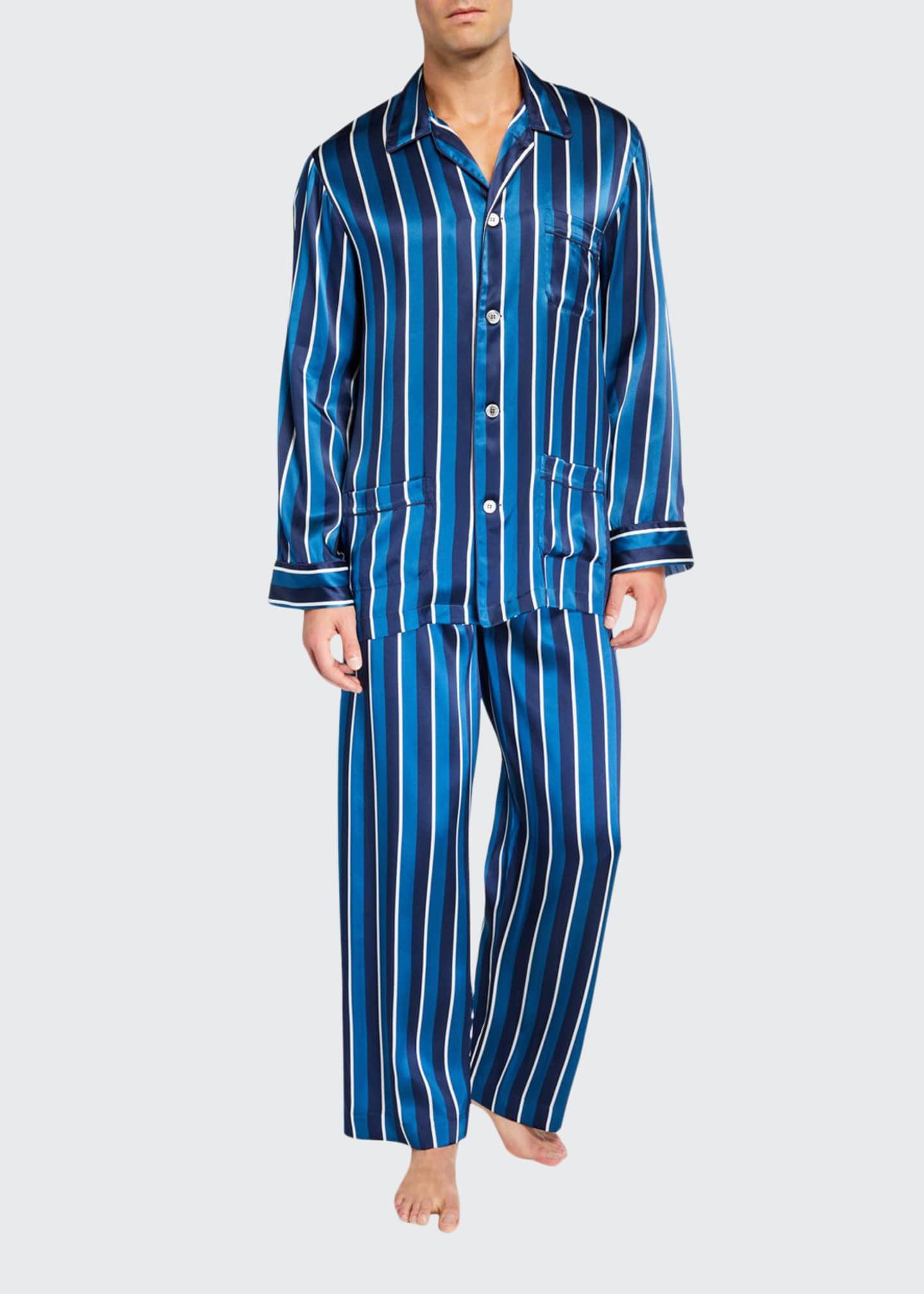 Derek Rose Men's Brindisi 40 Striped Silk Pajamas