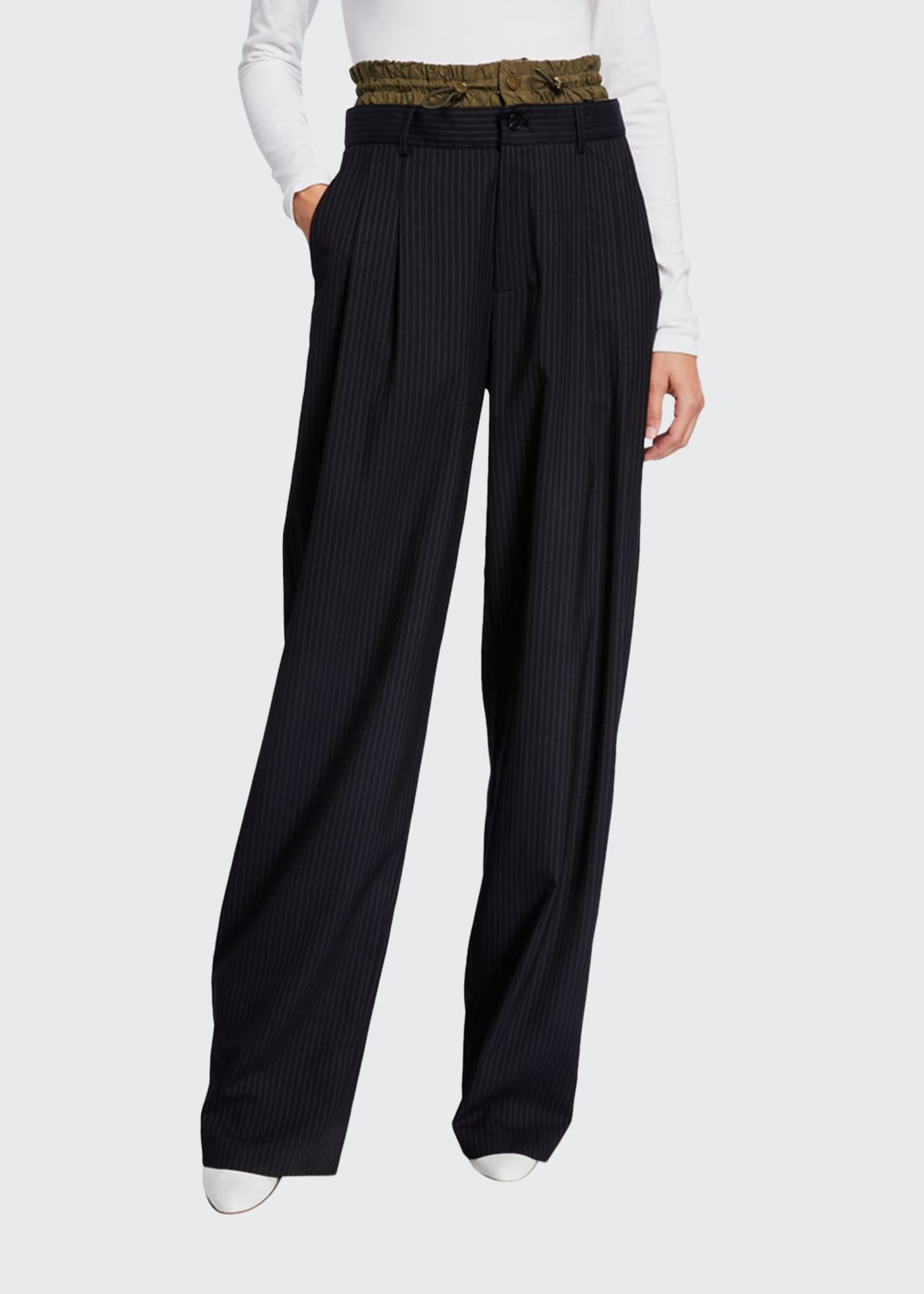 Monse Pinstriped Elastic-Waist Trousers