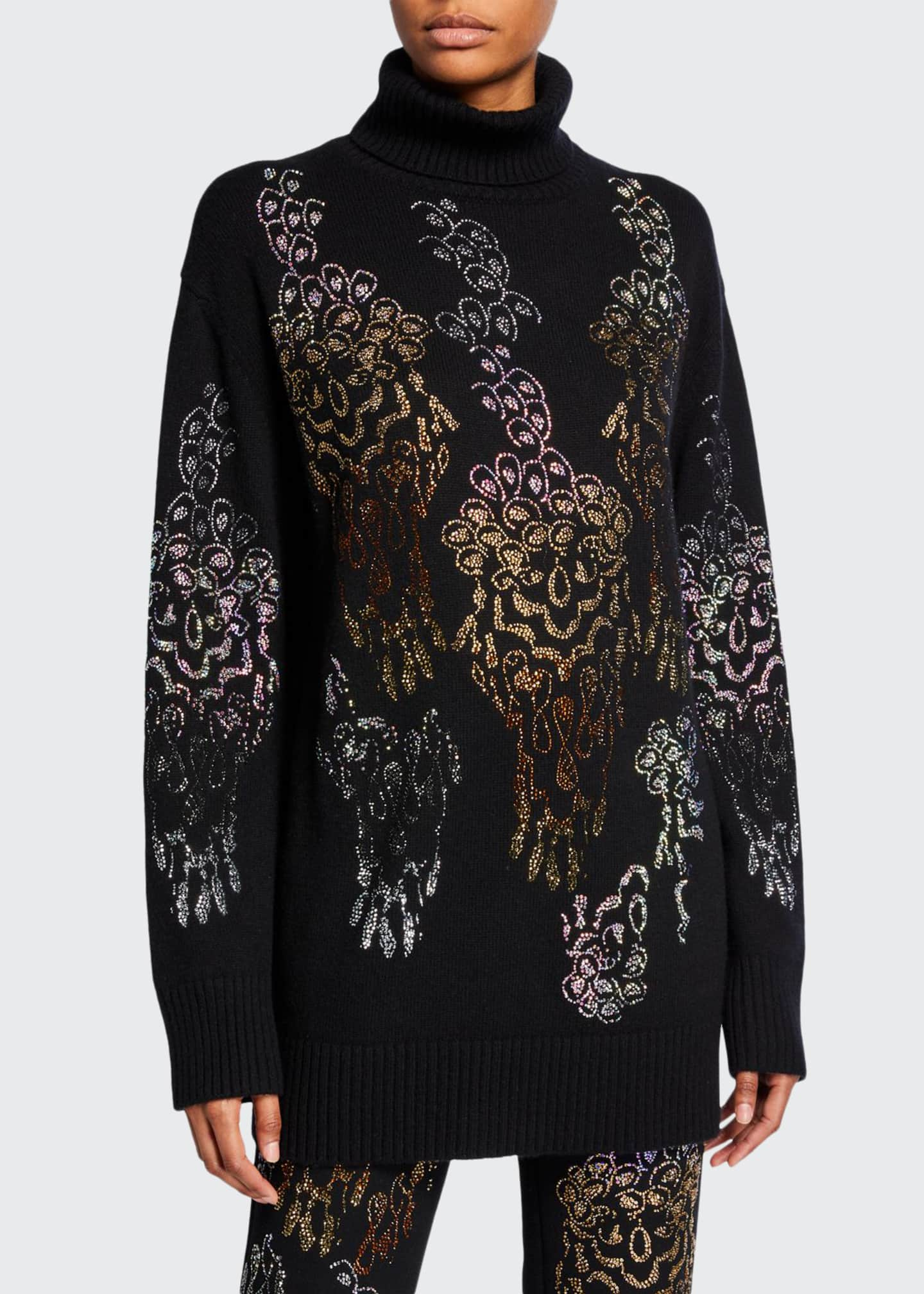 Libertine Overflowing With Love Cashmere Jeweled Floral Sweater
