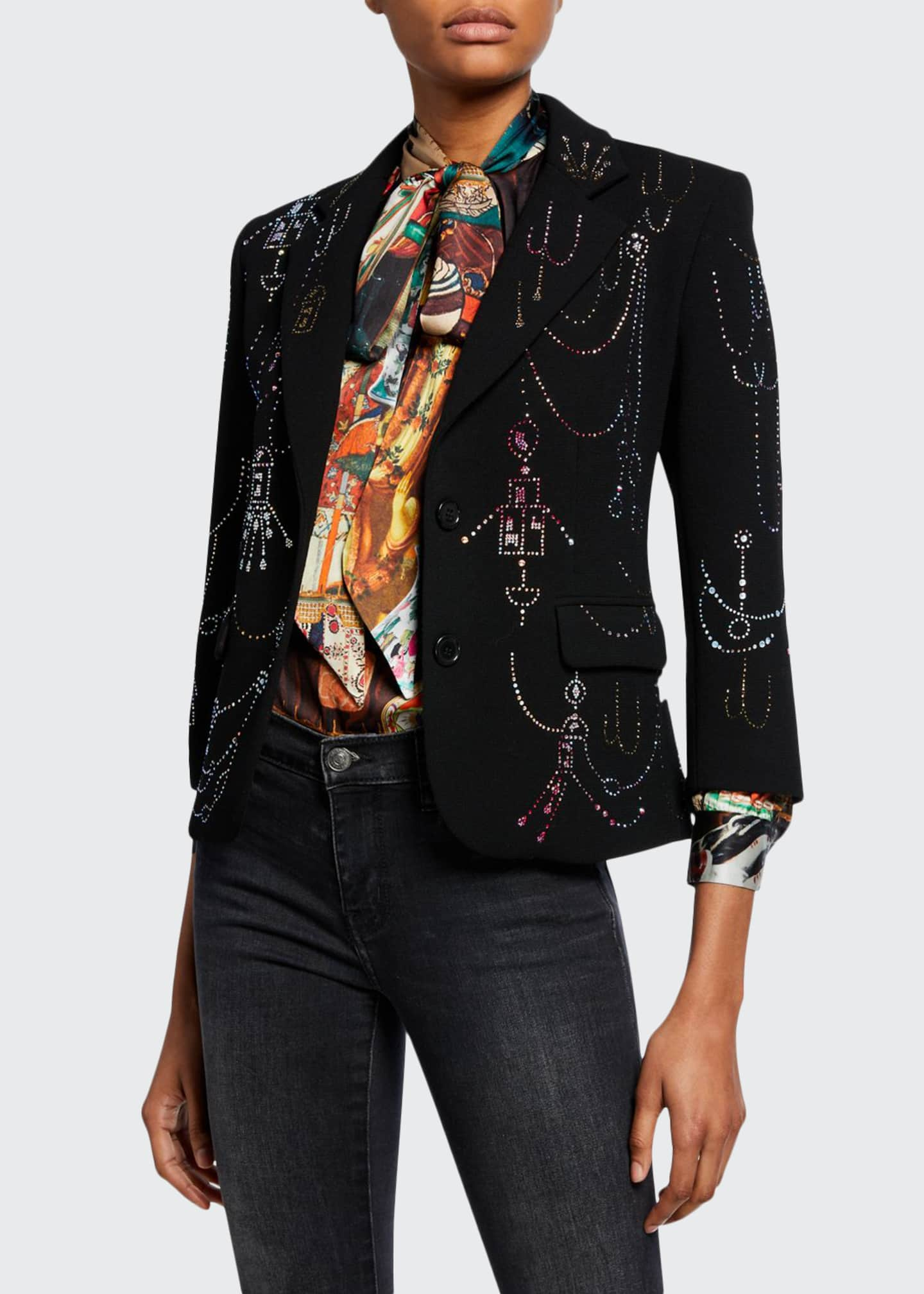 Libertine Victorian Swags Jeweled Wool Blazer
