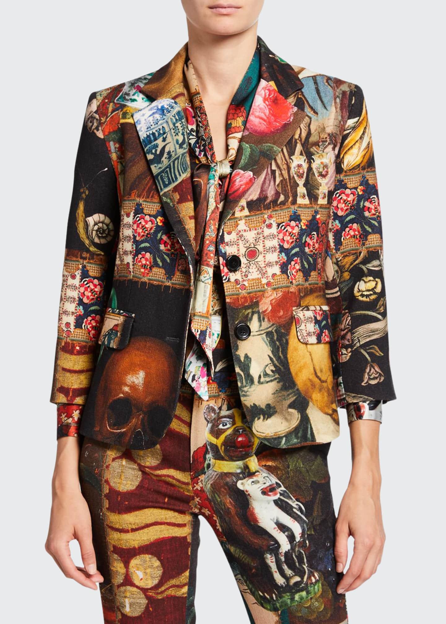 Libertine Memento Mori Mixed Media Two-Button Wool Blazer