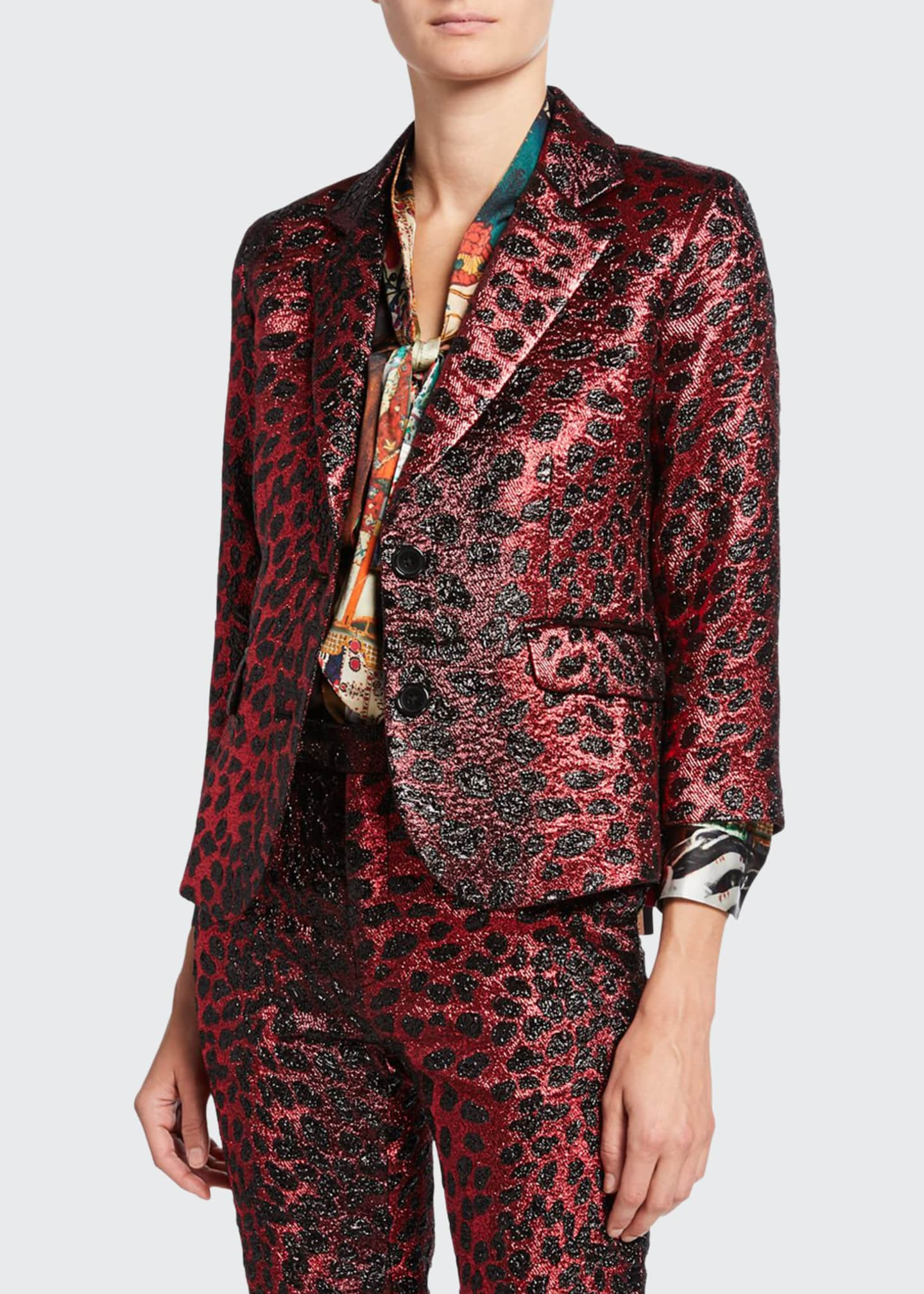 Libertine Metallic Cat Glittery Cheetah-Print Blazer