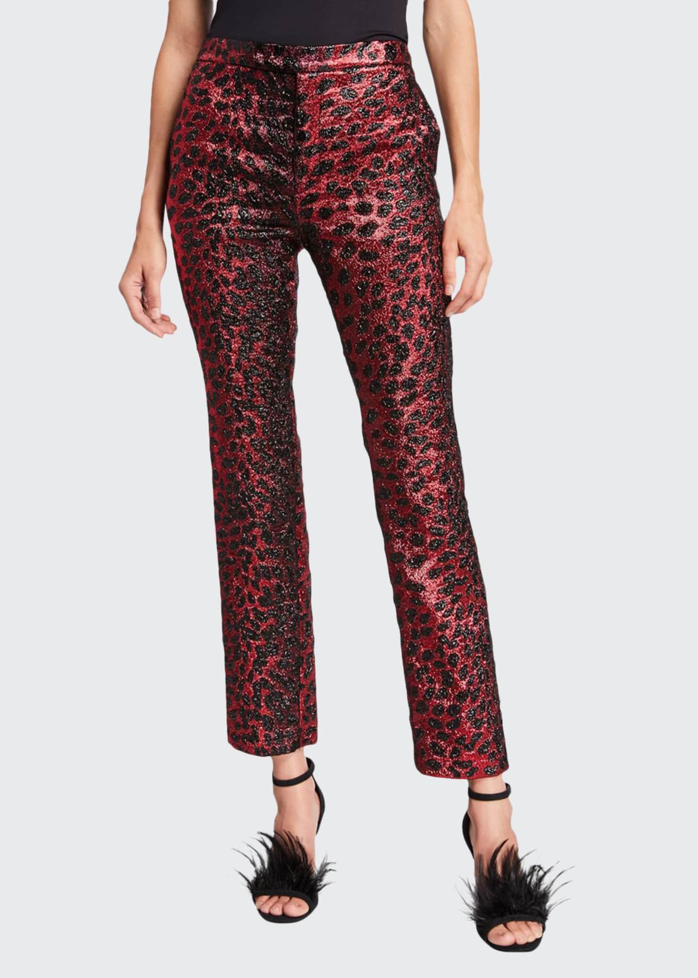 Libertine Metallic Cat Glittery Cheetah-Print Skinny-Leg Pants