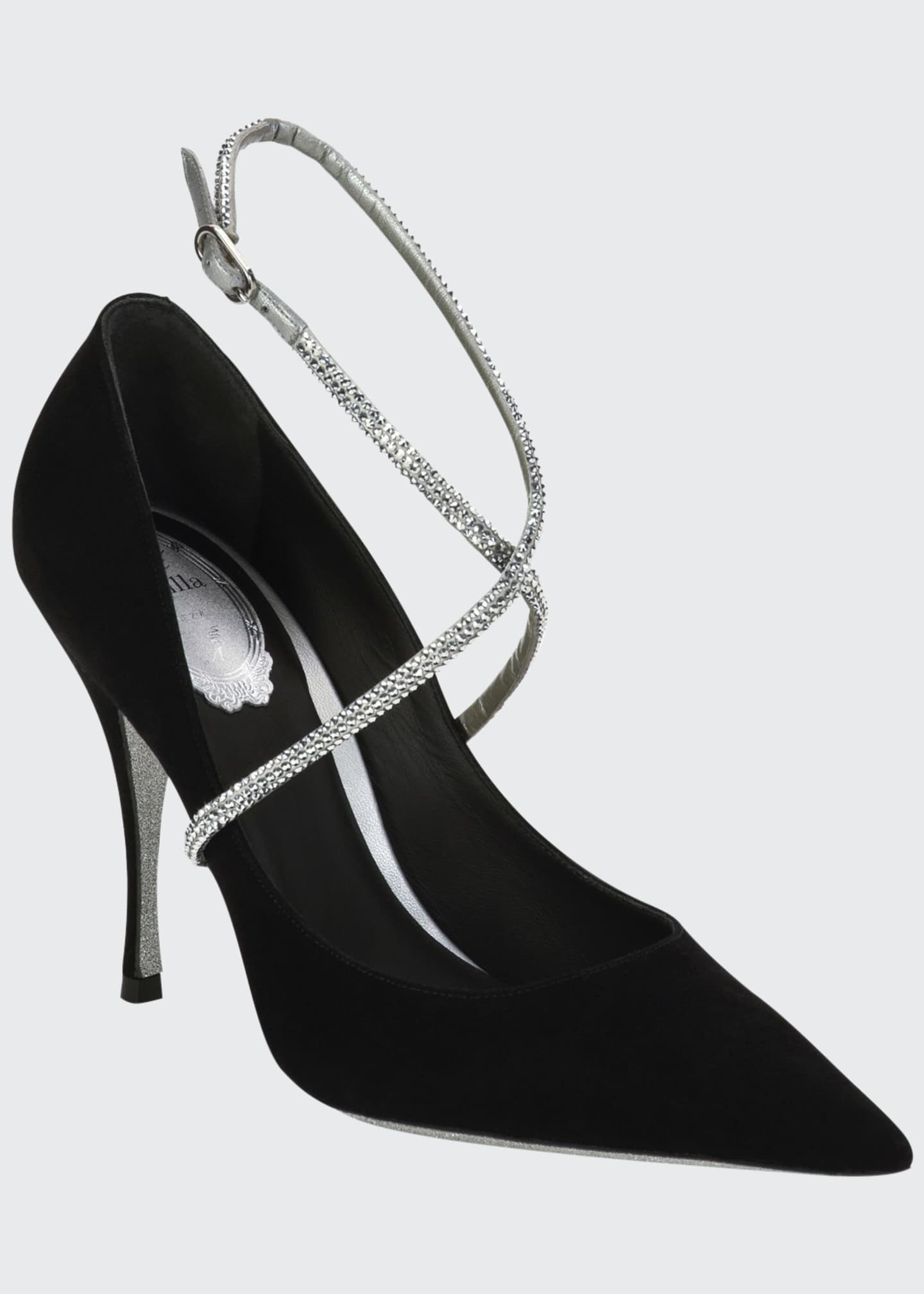 Rene Caovilla Satin Crystal-Embellished Pumps