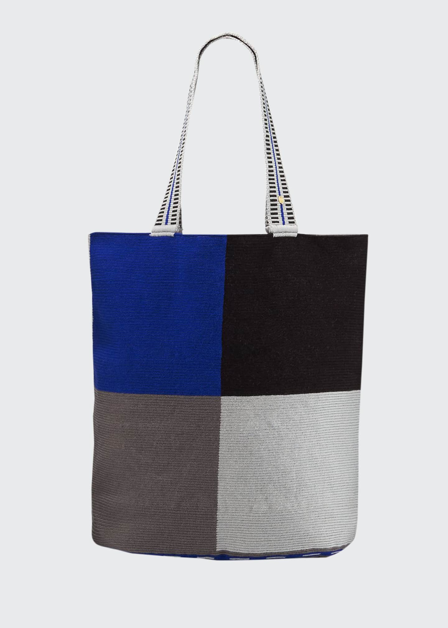 Image 1 of 4: Men's Colorblock Woven Tote Bag