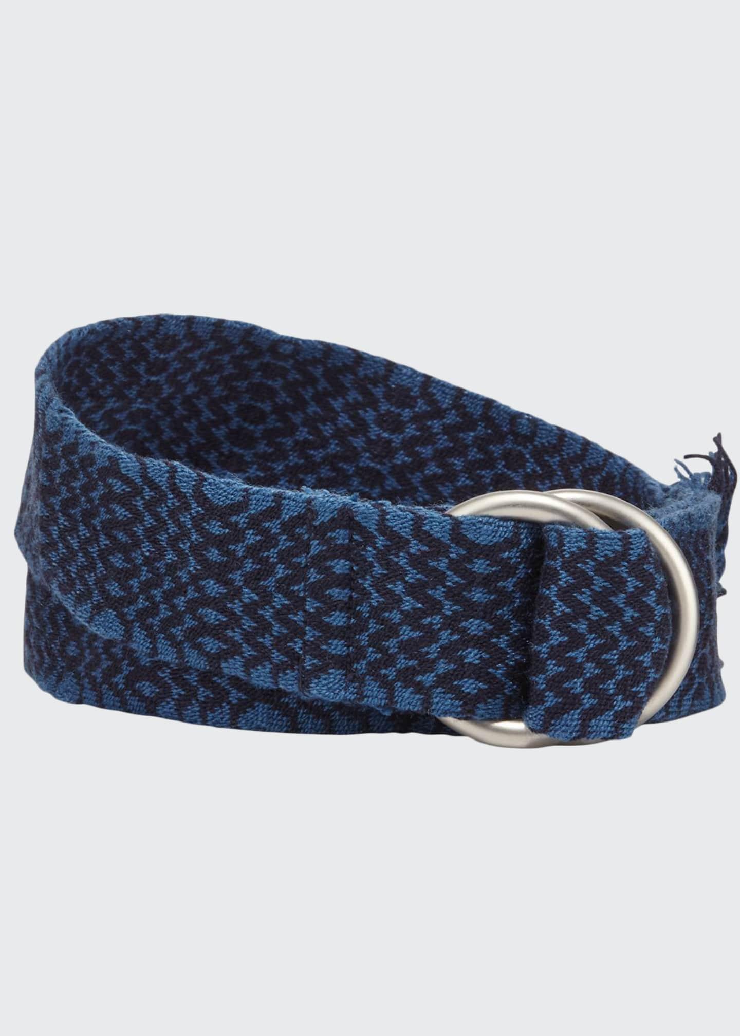 Guanabana Handmade Men's Double D-Ring Chevron Belt, Blue