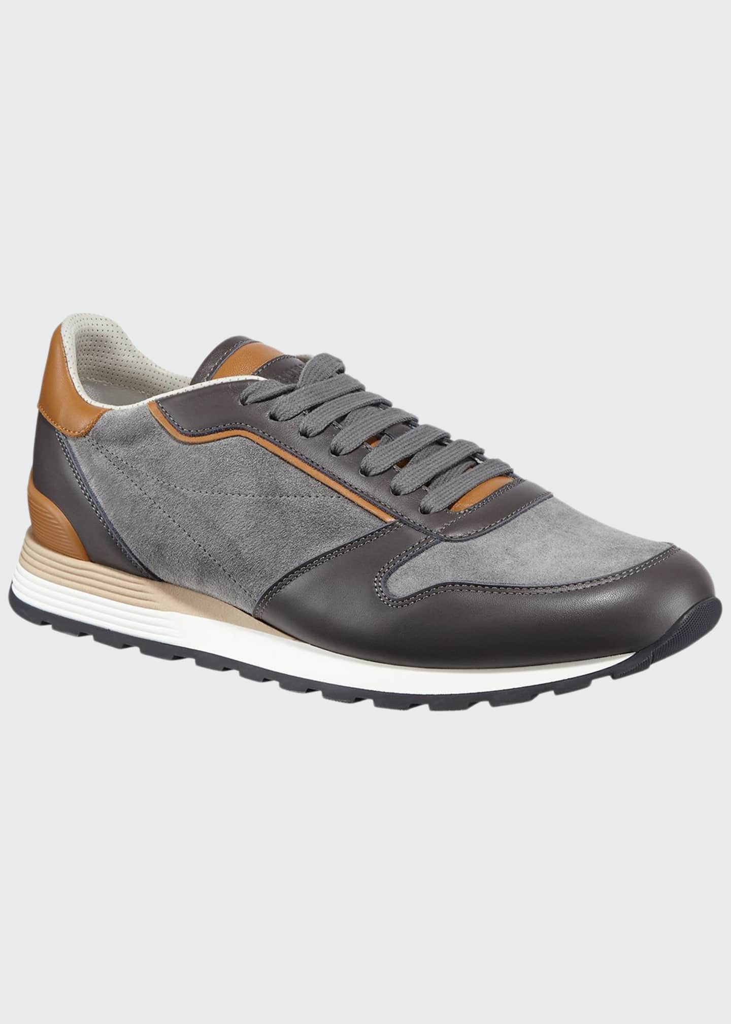 Image 1 of 3: Men's Suede & Leather Athletic Sneakers