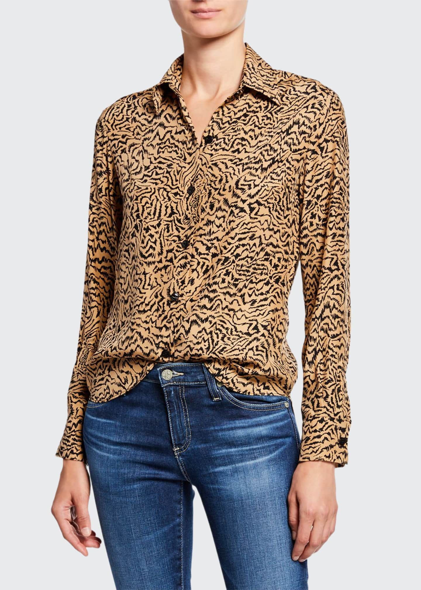 HVN Cristina Button-Down Tiger-Print Blouse