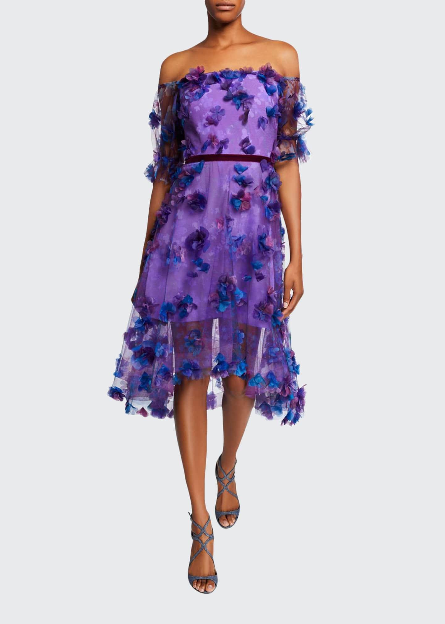 Marchesa Notte Off-the-Shoulder Blouson-Sleeve Tulle Dress w/ 3D