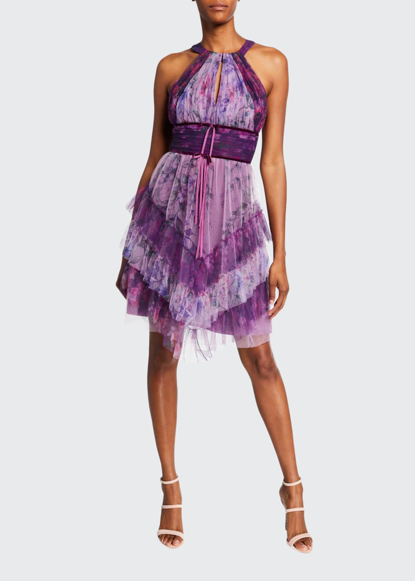 Image 1 of 2: Colorblocked Floral-Printed Tulle Dress with Ruffle Skirt Detailing