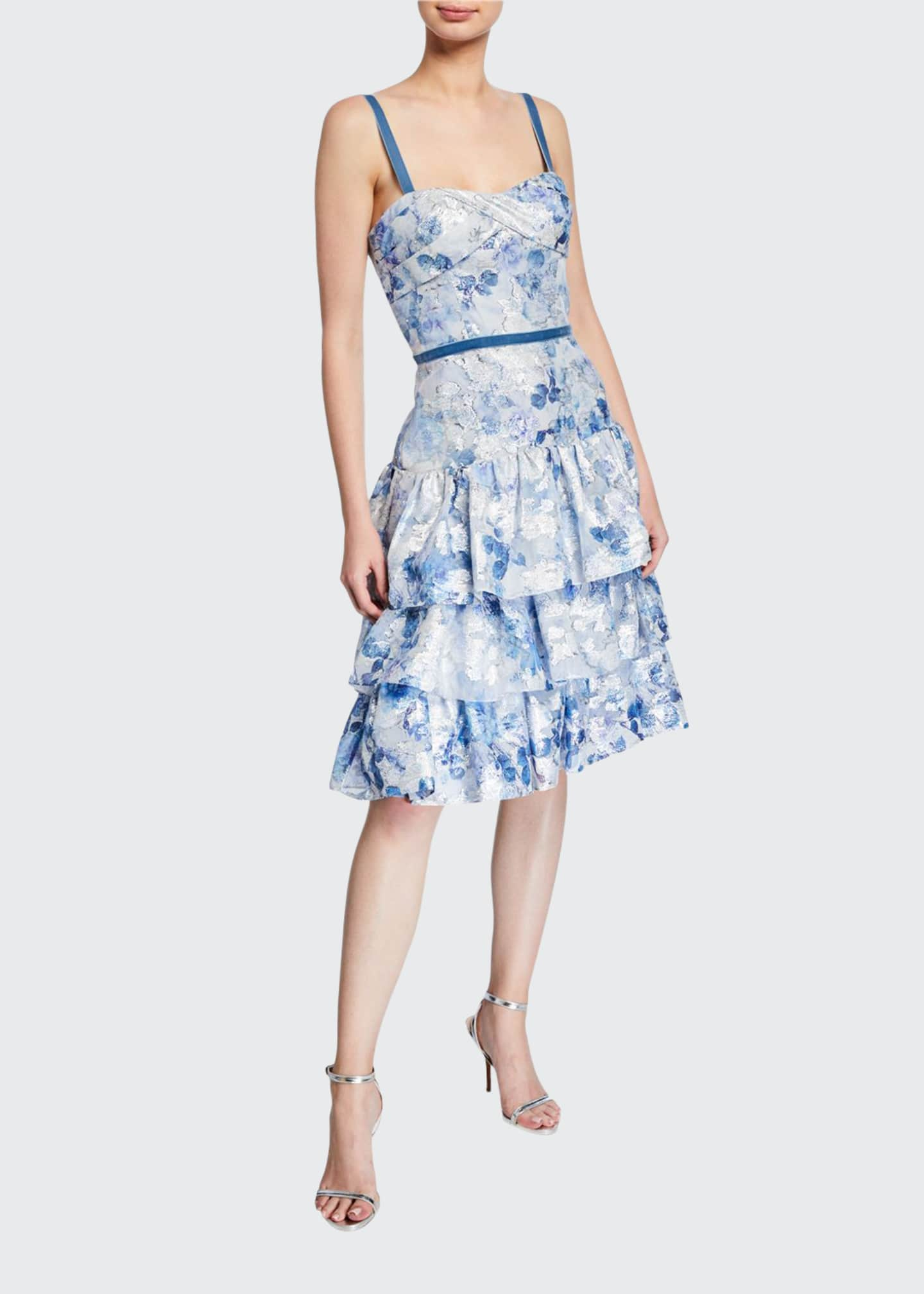 Image 1 of 2: Metallic Printed Fils Coupe Tiered Tea-Length Cocktail Dress