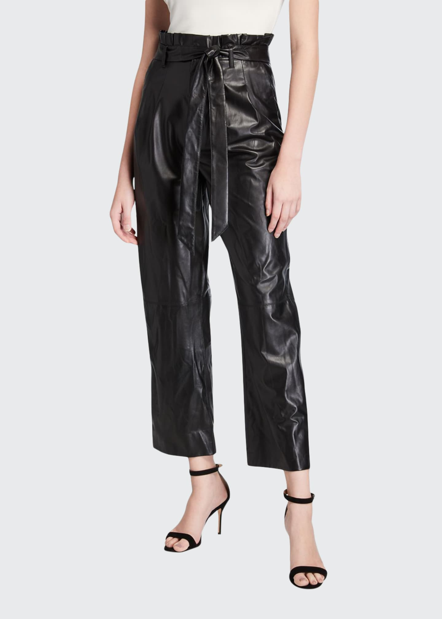 Image 1 of 3: Ryan Leather Paperbag Ankle Pants