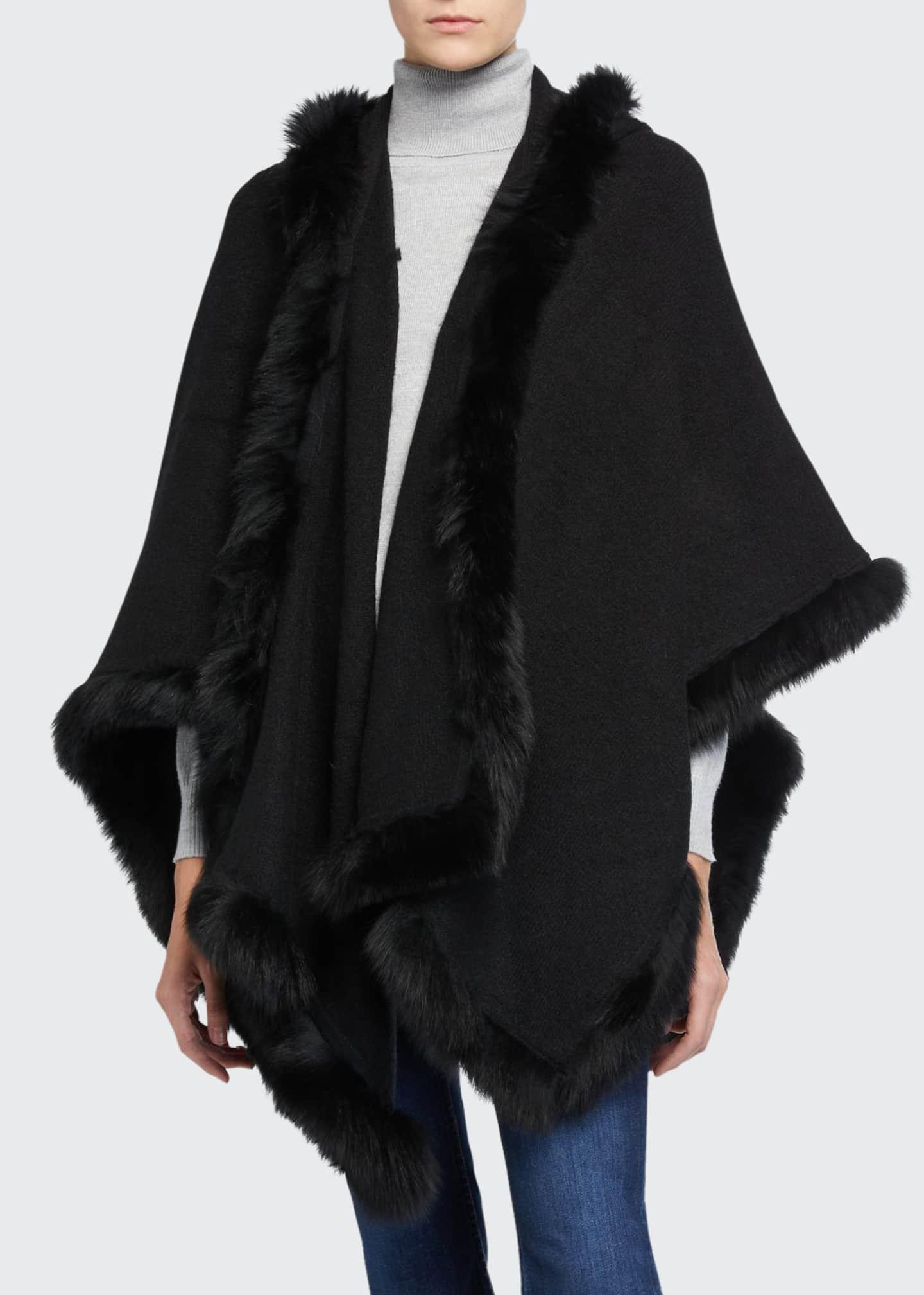 Alice + Olivia Kamala Oversized Poncho with Fur